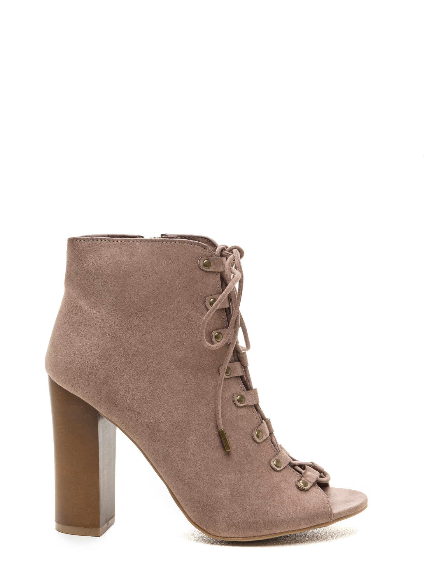 Style Blog Worthy Lace-Up Booties TAUPE