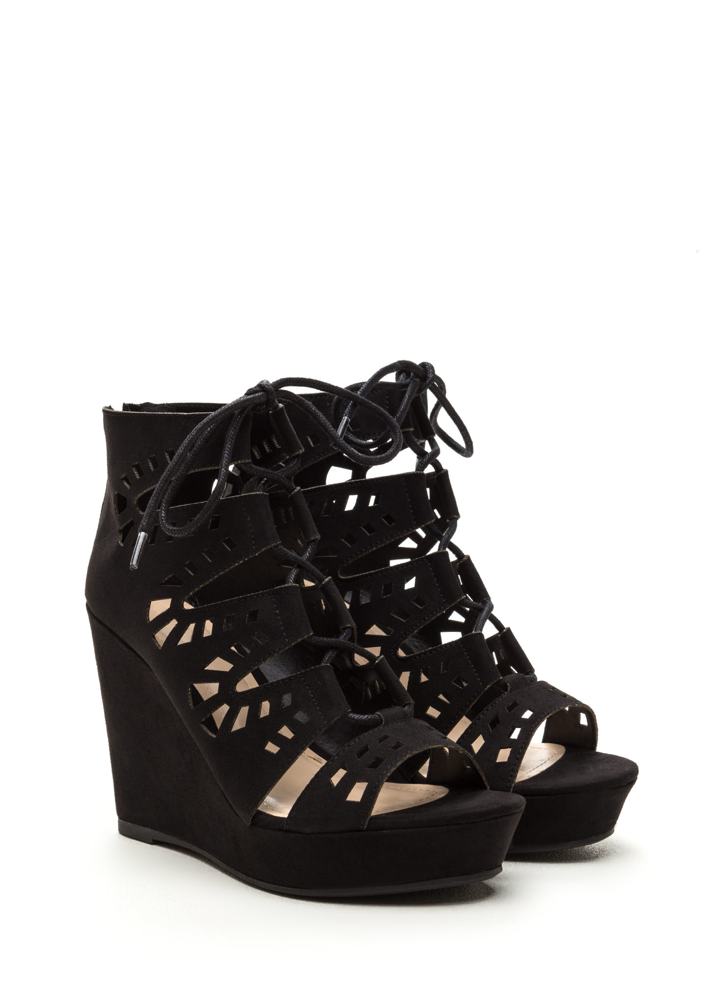 High Drama Cut-Out Lace-Up Wedges BLACK