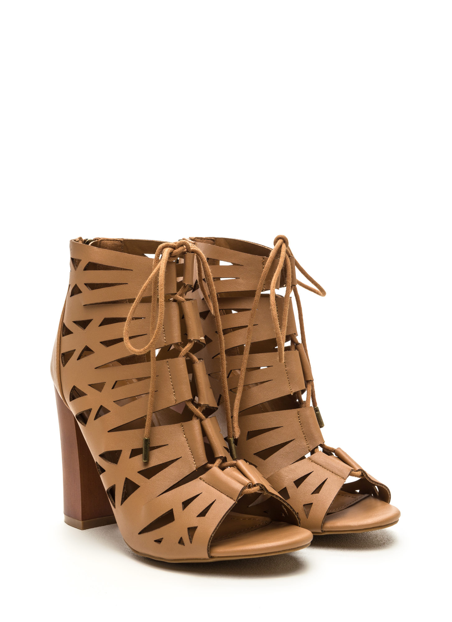 Hi Tempo Faux Leather Cut-Out Heels NATURAL