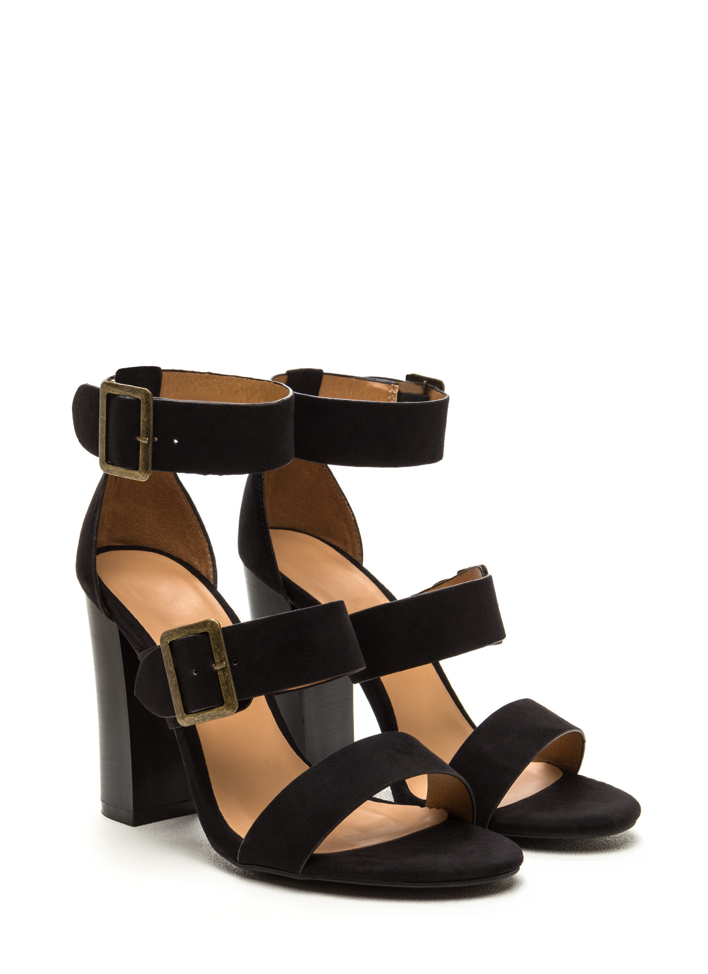 Chic Outcome Strappy Faux Suede Heels BLACK