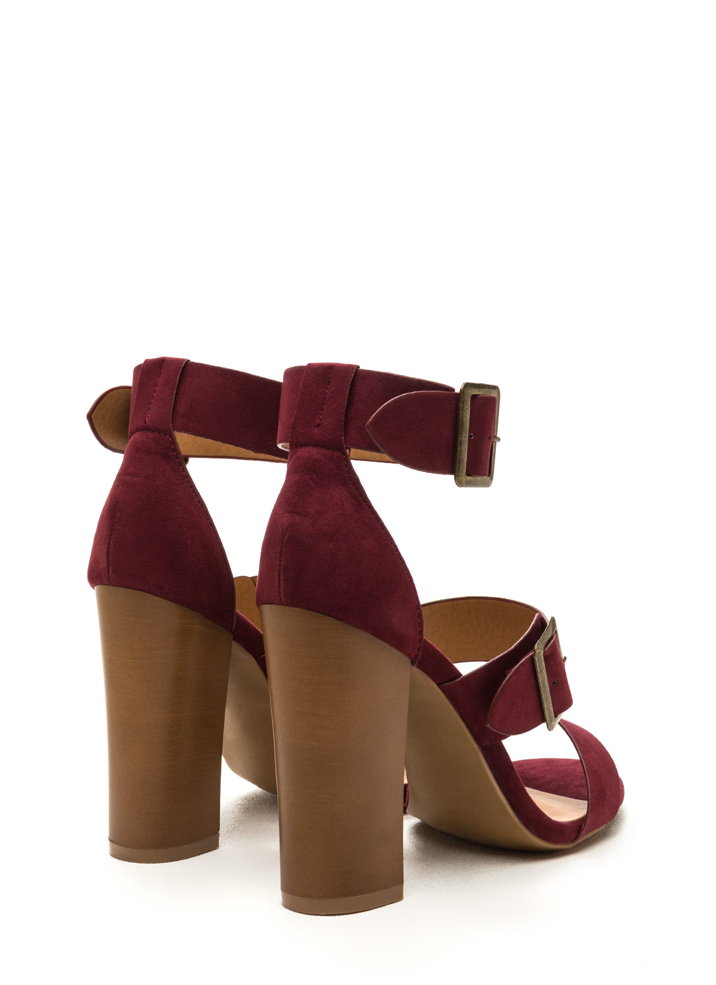 Chic Outcome Strappy Faux Suede Heels BURGUNDY
