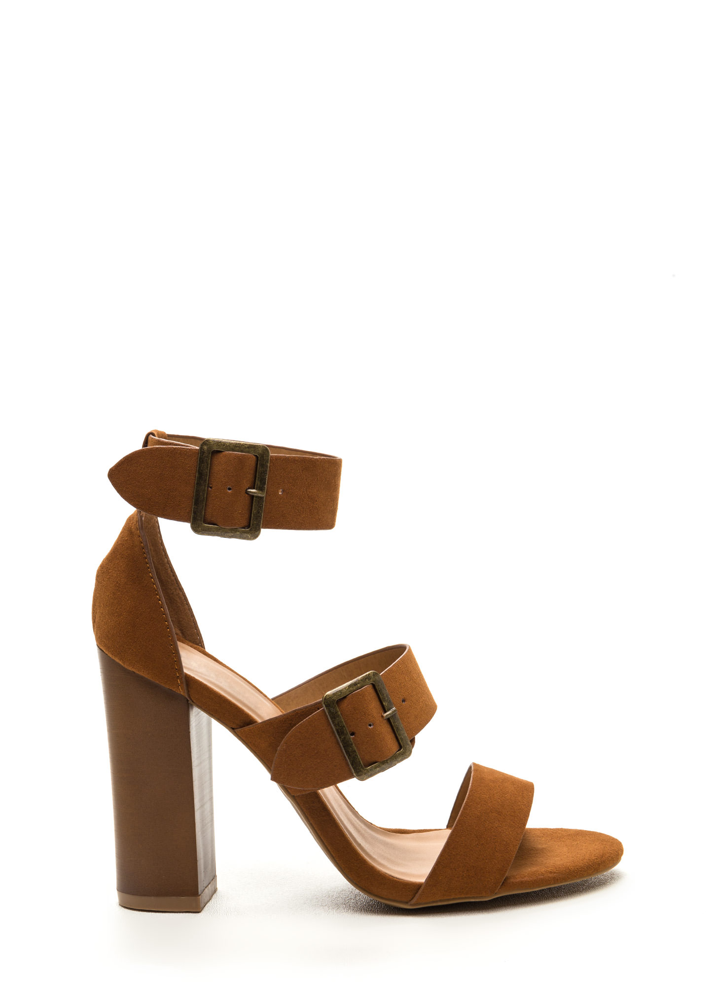 Chic Outcome Strappy Faux Suede Heels CHESTNUT