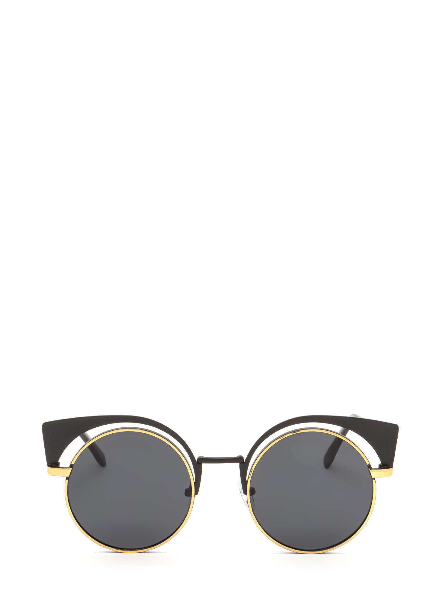 Bat My Lashes Round Cut-Out Sunglasses GOLDBLACK