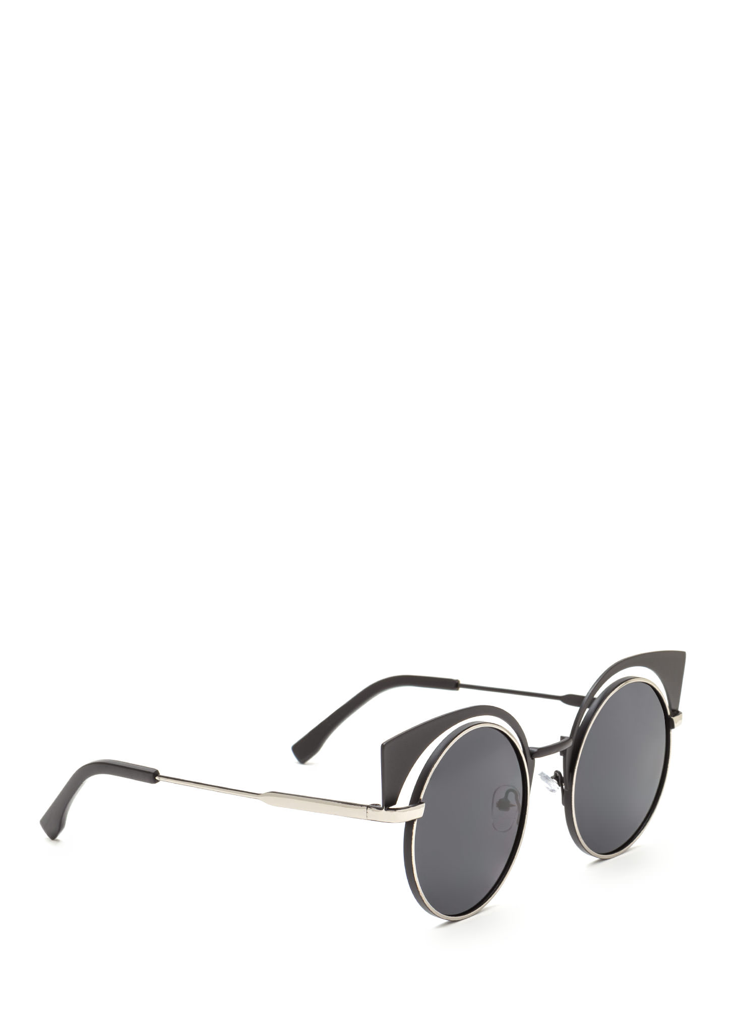 Bat My Lashes Round Cut-Out Sunglasses SILVERBLACK