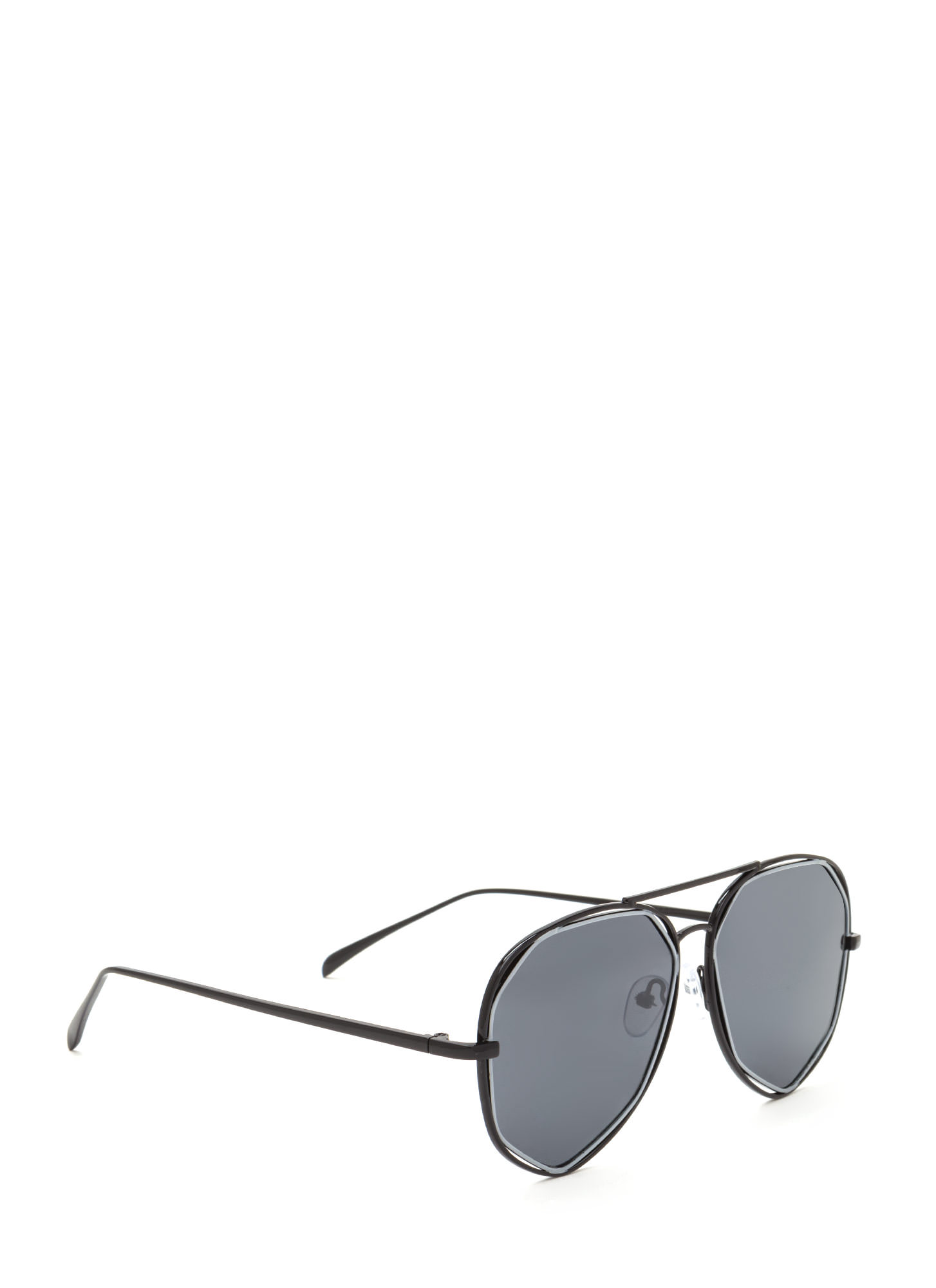Get In Shapes Flat Aviator Sunglasses CHARCOAL