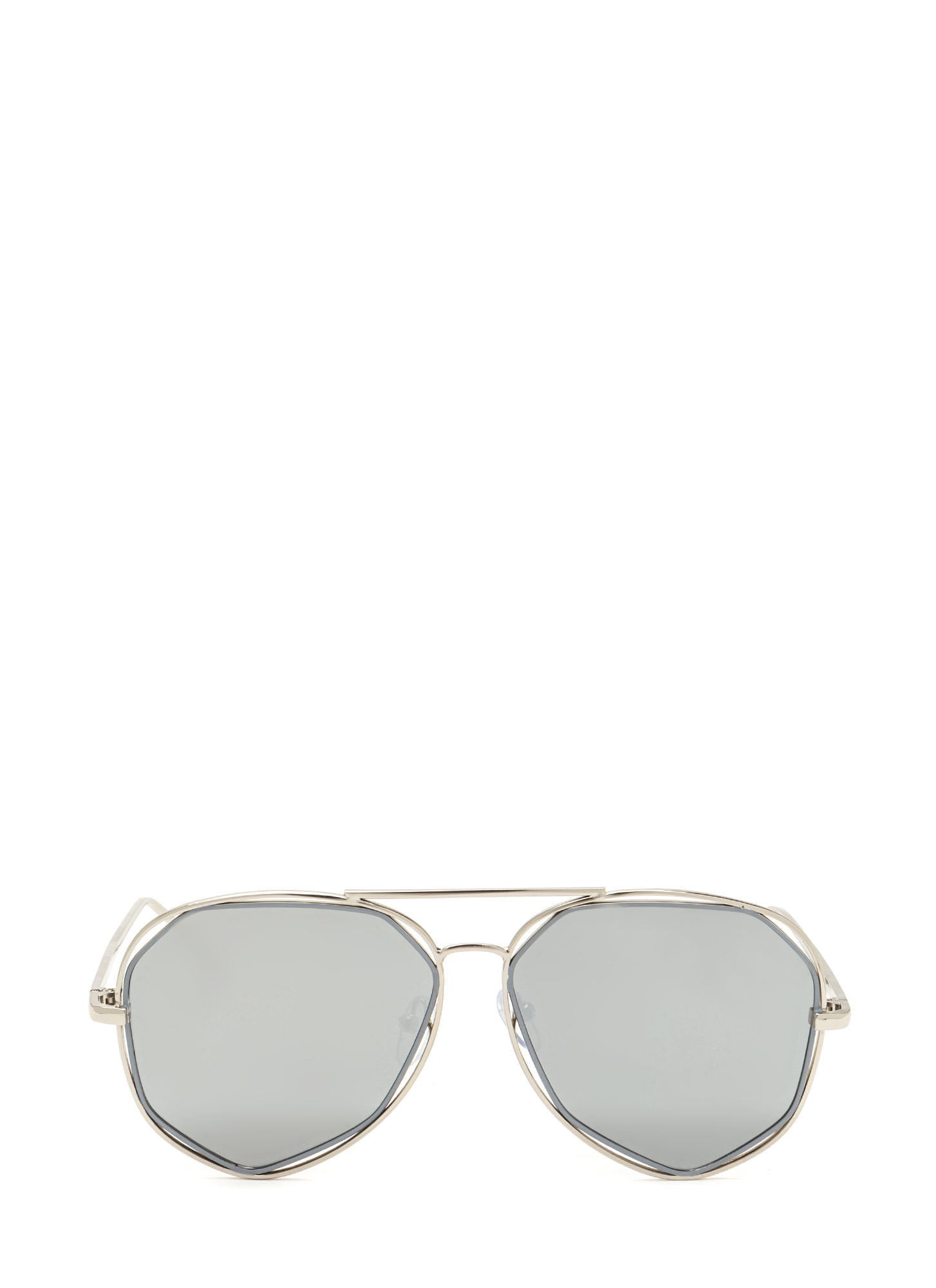 Get In Shapes Flat Aviator Sunglasses SILVER