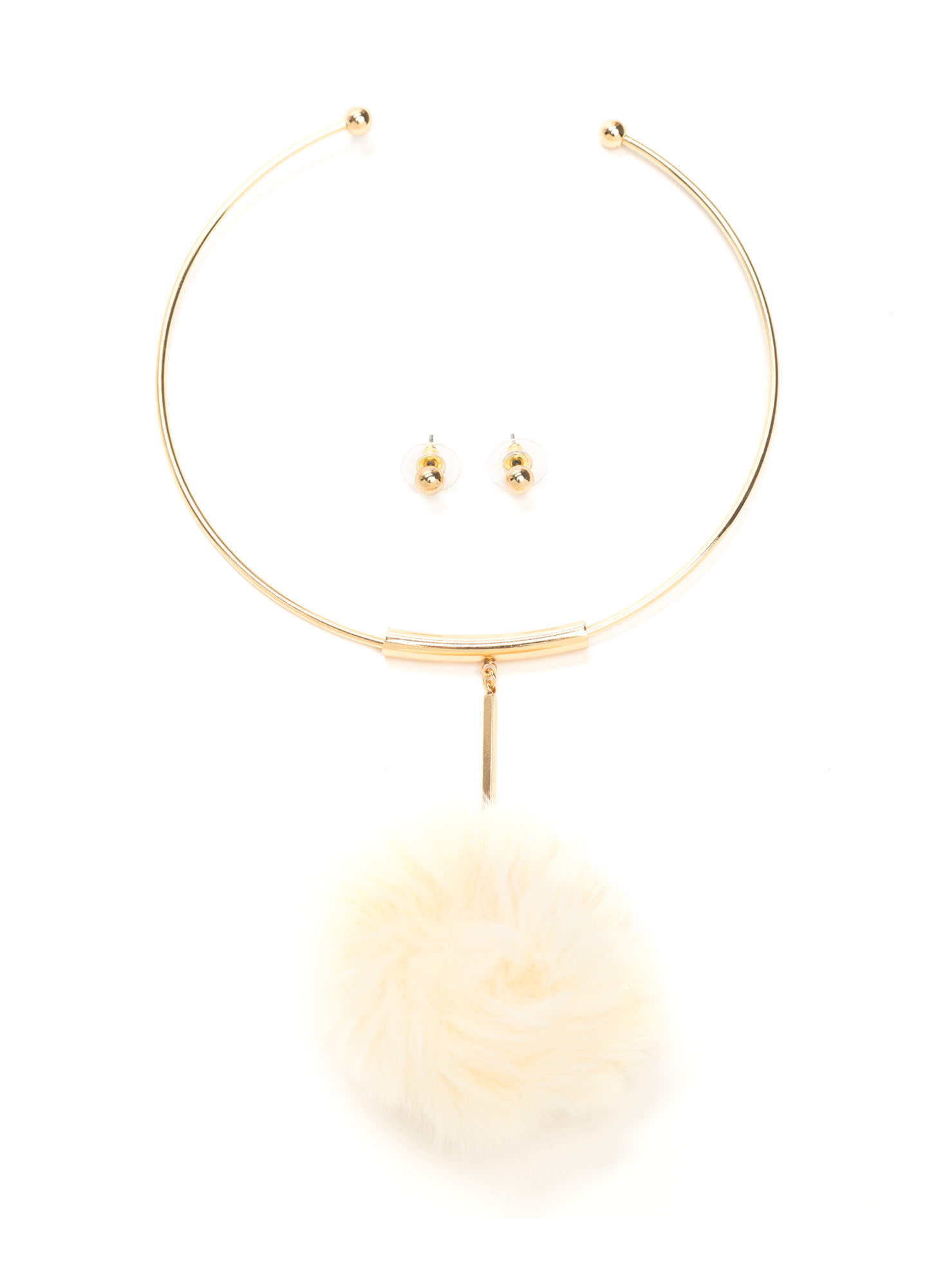 All Faux Fur It Pom-Pom Necklace Set IVORY