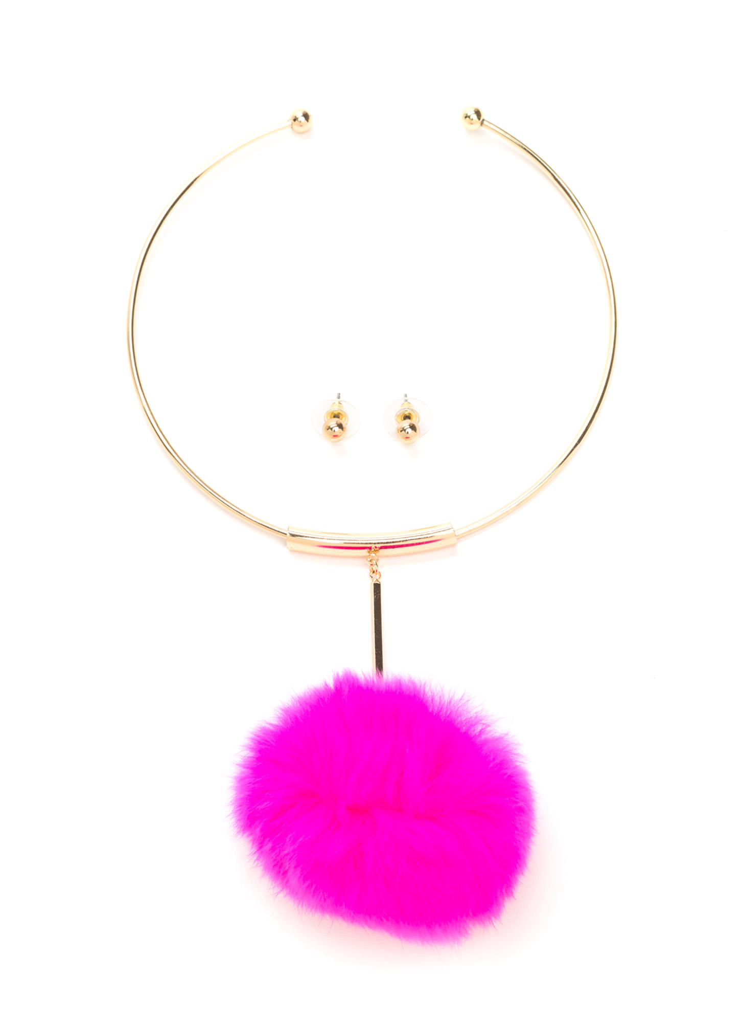 All Faux Fur It Pom-Pom Necklace Set PINK