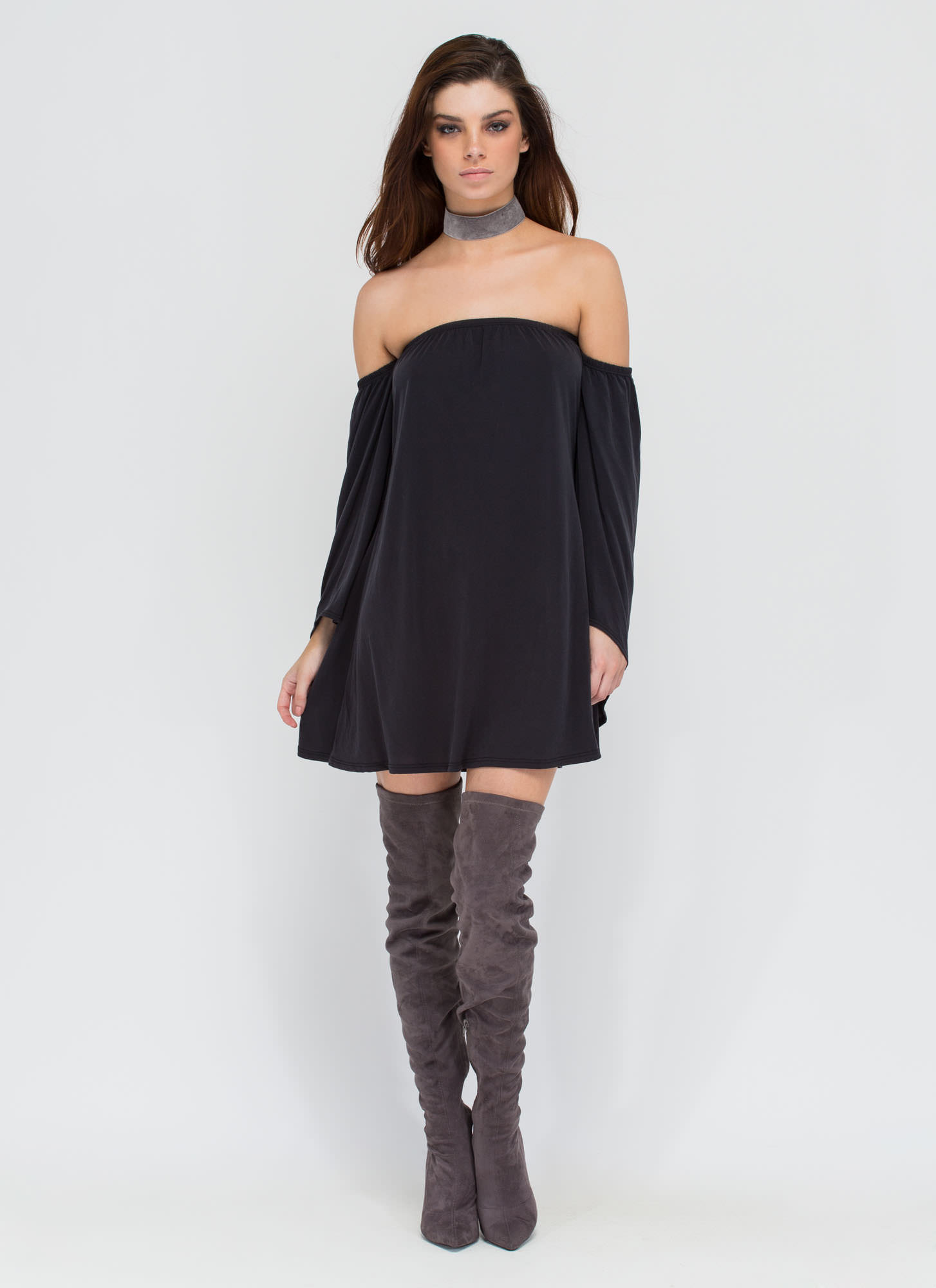 Flow Along Off-The-Shoulder Dress BLACK