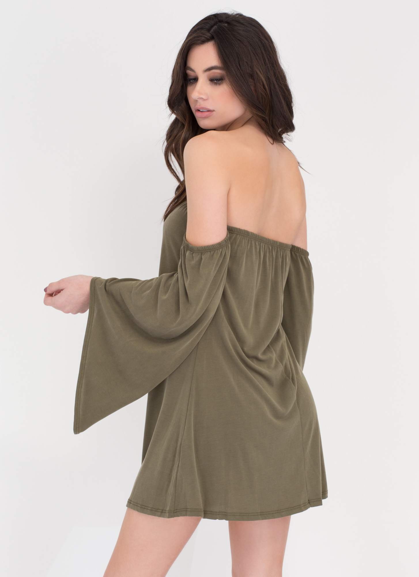 Flow Along Off-The-Shoulder Dress OLIVE