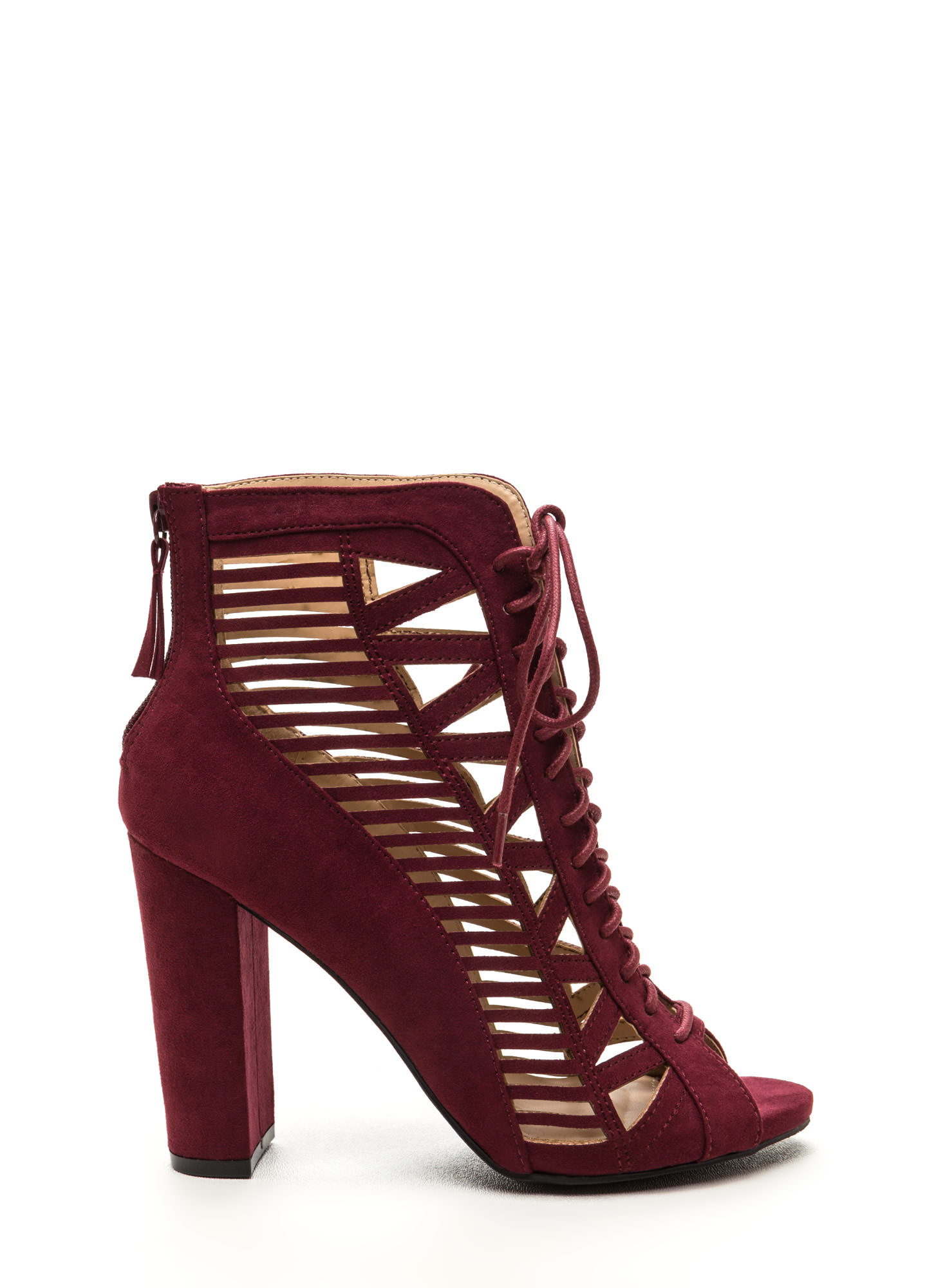 Pencil You In Lace-Up Caged Heels BURGUNDY