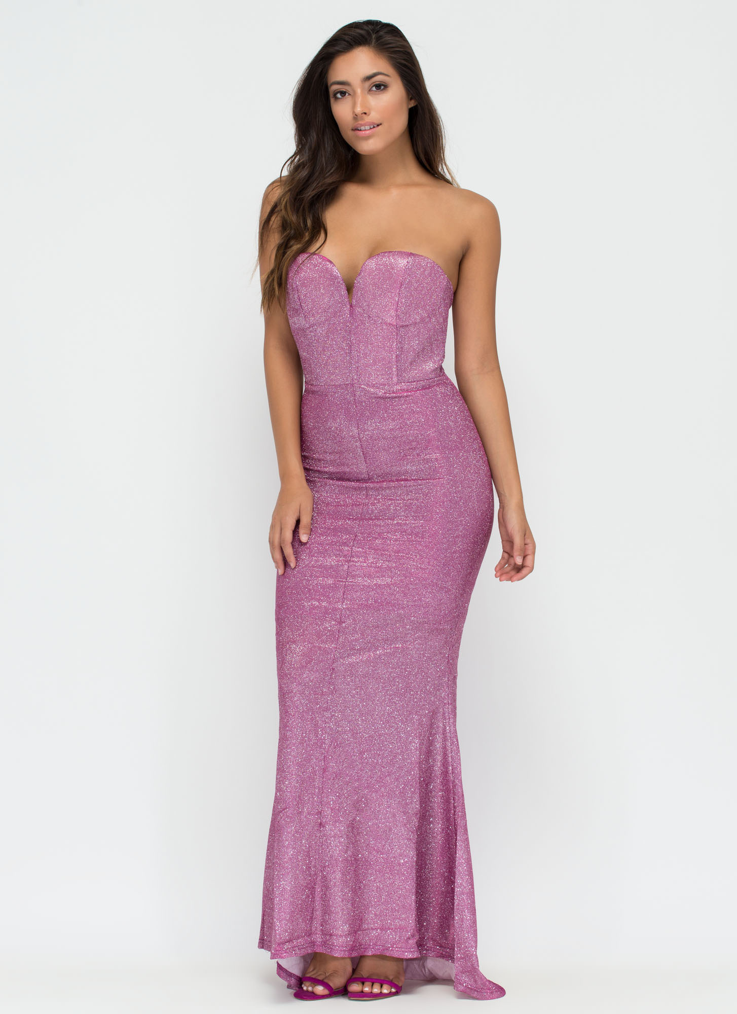 Divine Creature Sparkly Mermaid Maxi Dress PINK