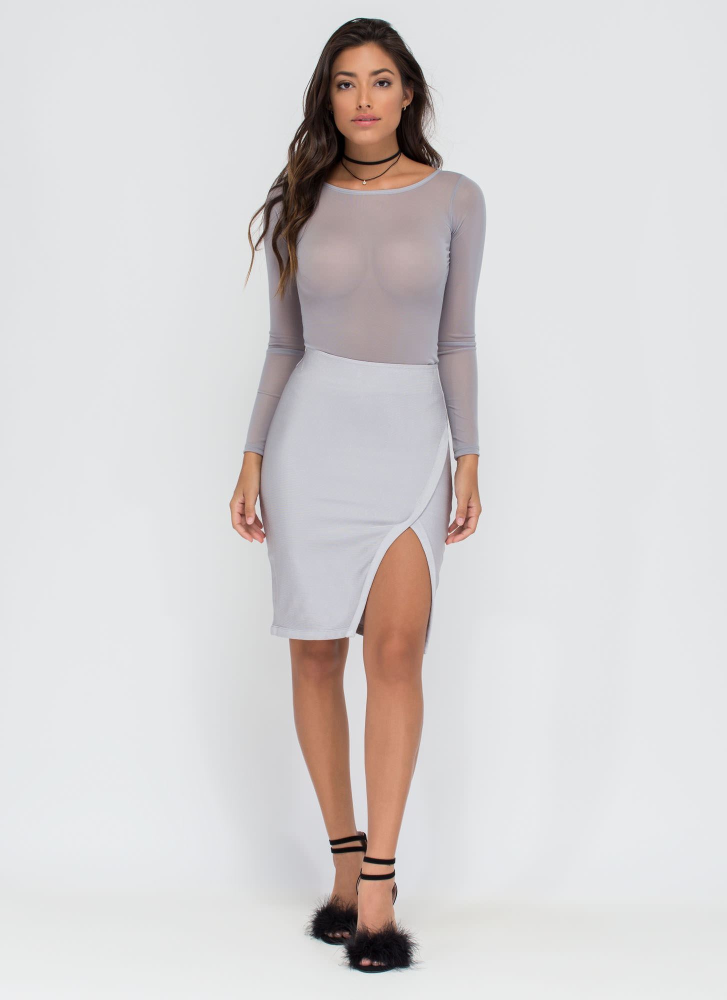 Wrap Game Cut-Out Slit Midi Skirt SILVER