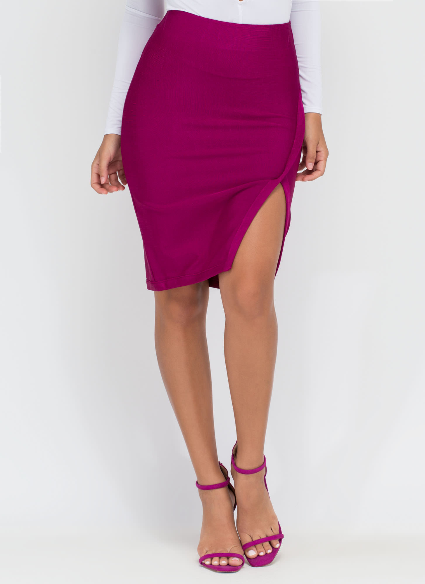 Wrap Game Cut-Out Slit Midi Skirt WINE