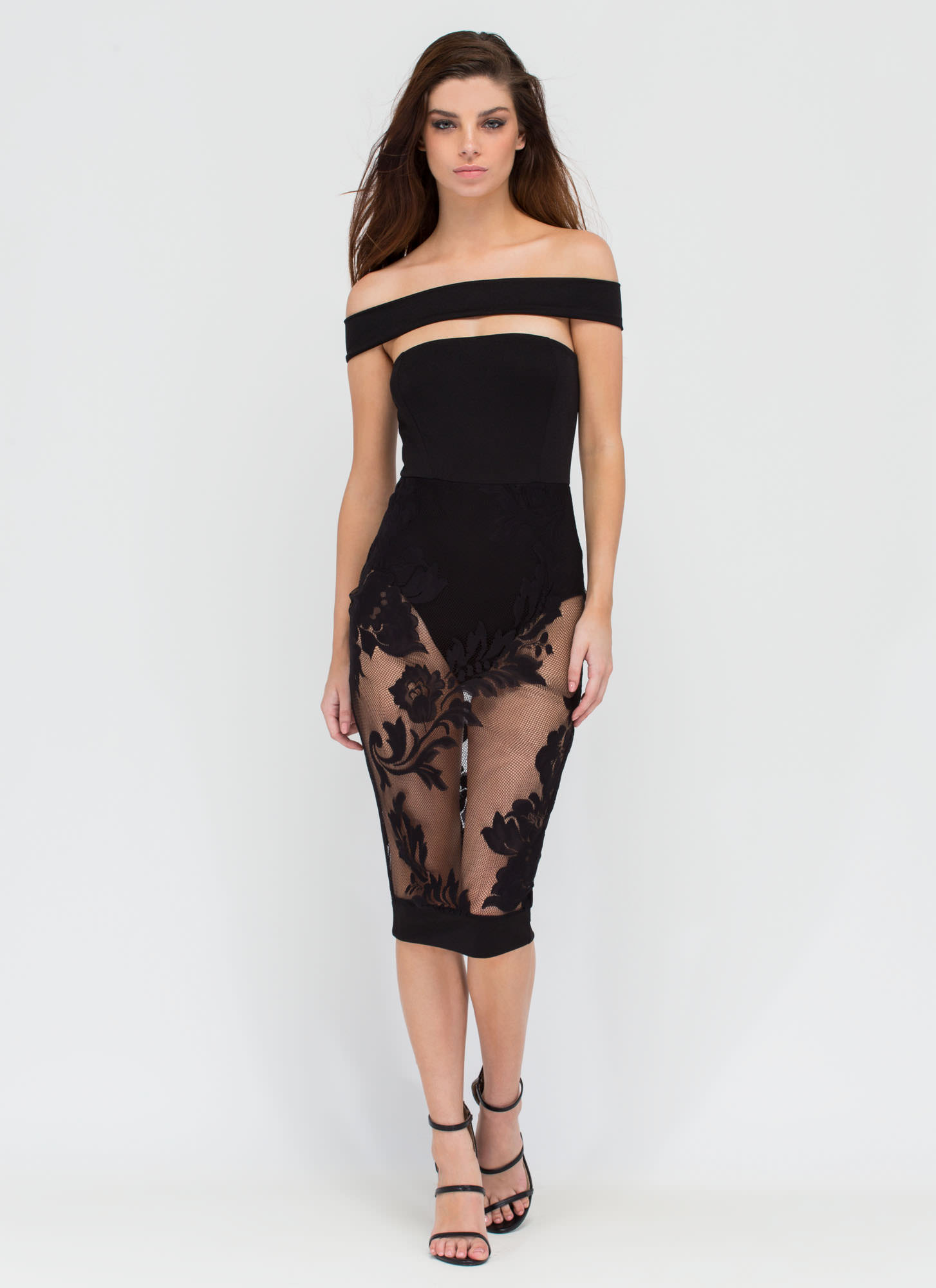 Good Lovin' Sheer Lace Midi Dress BLACK