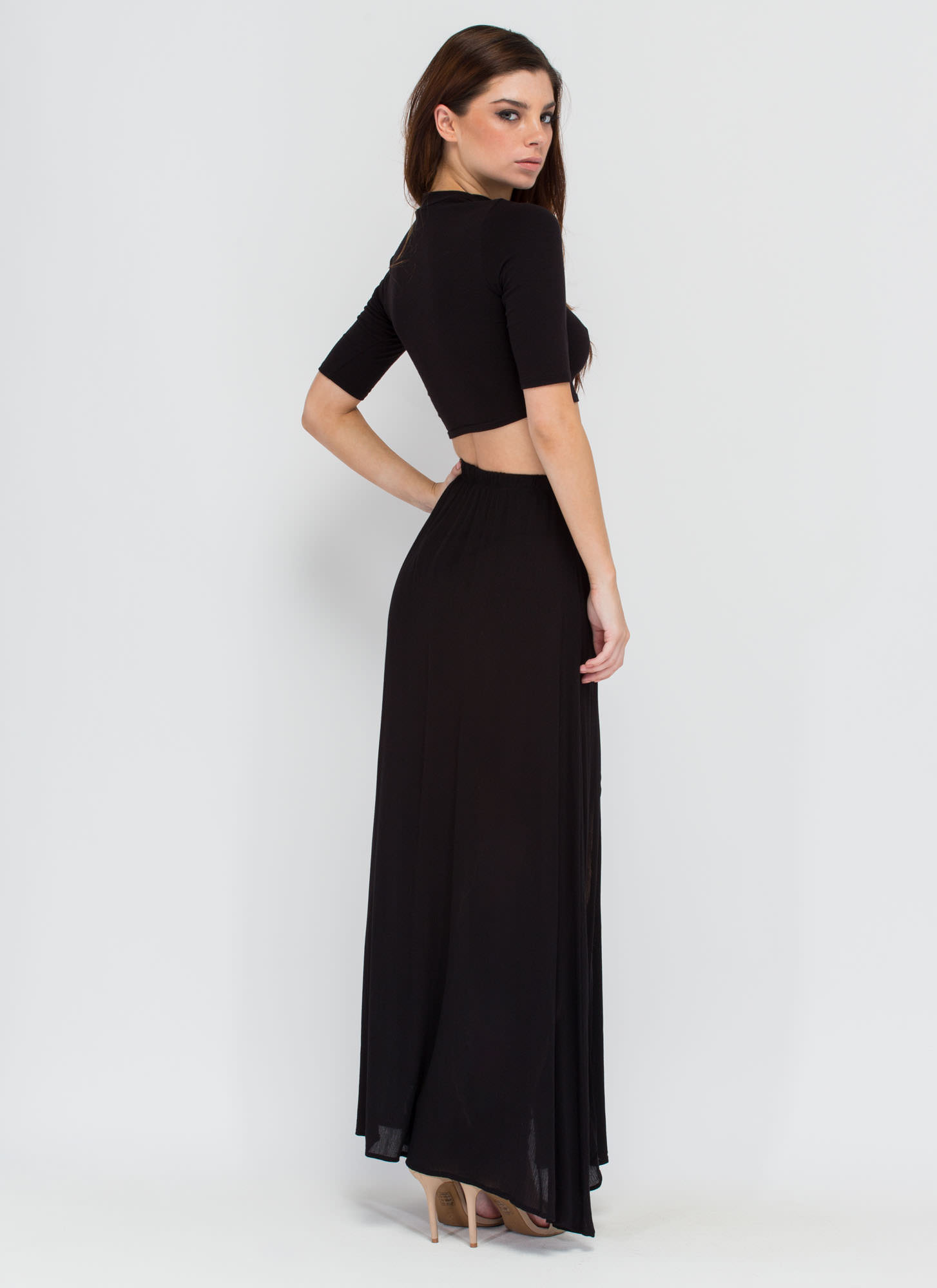 Walk In The Park Double-Slit Maxi Skirt BLACK (Final Sale)