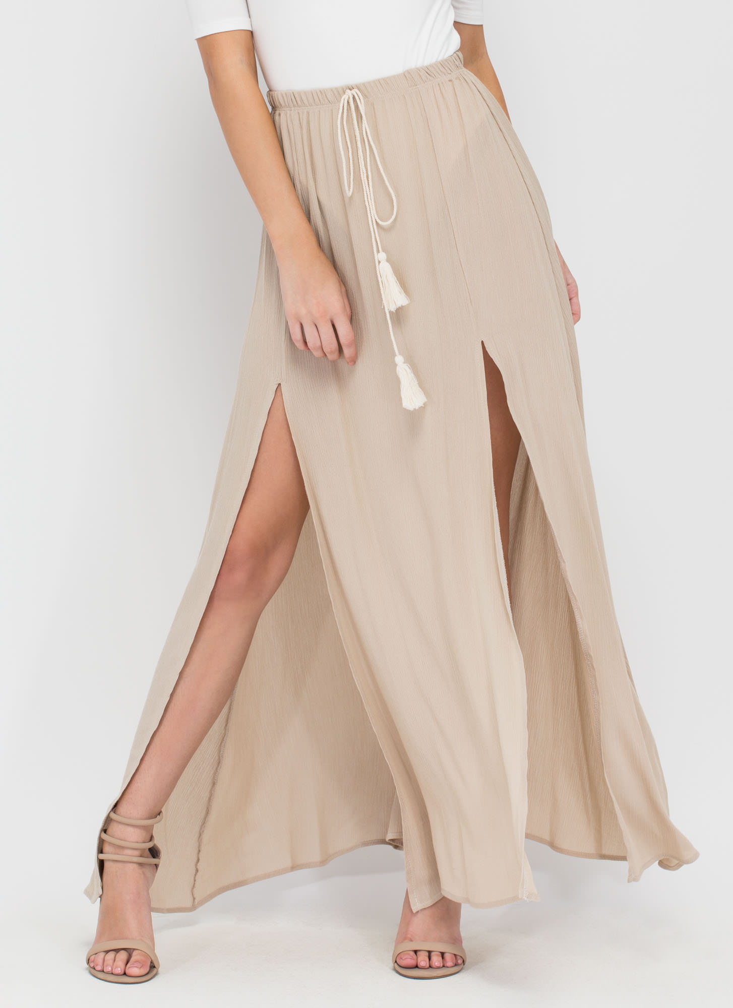 Walk In The Park Double-Slit Maxi Skirt TAUPE
