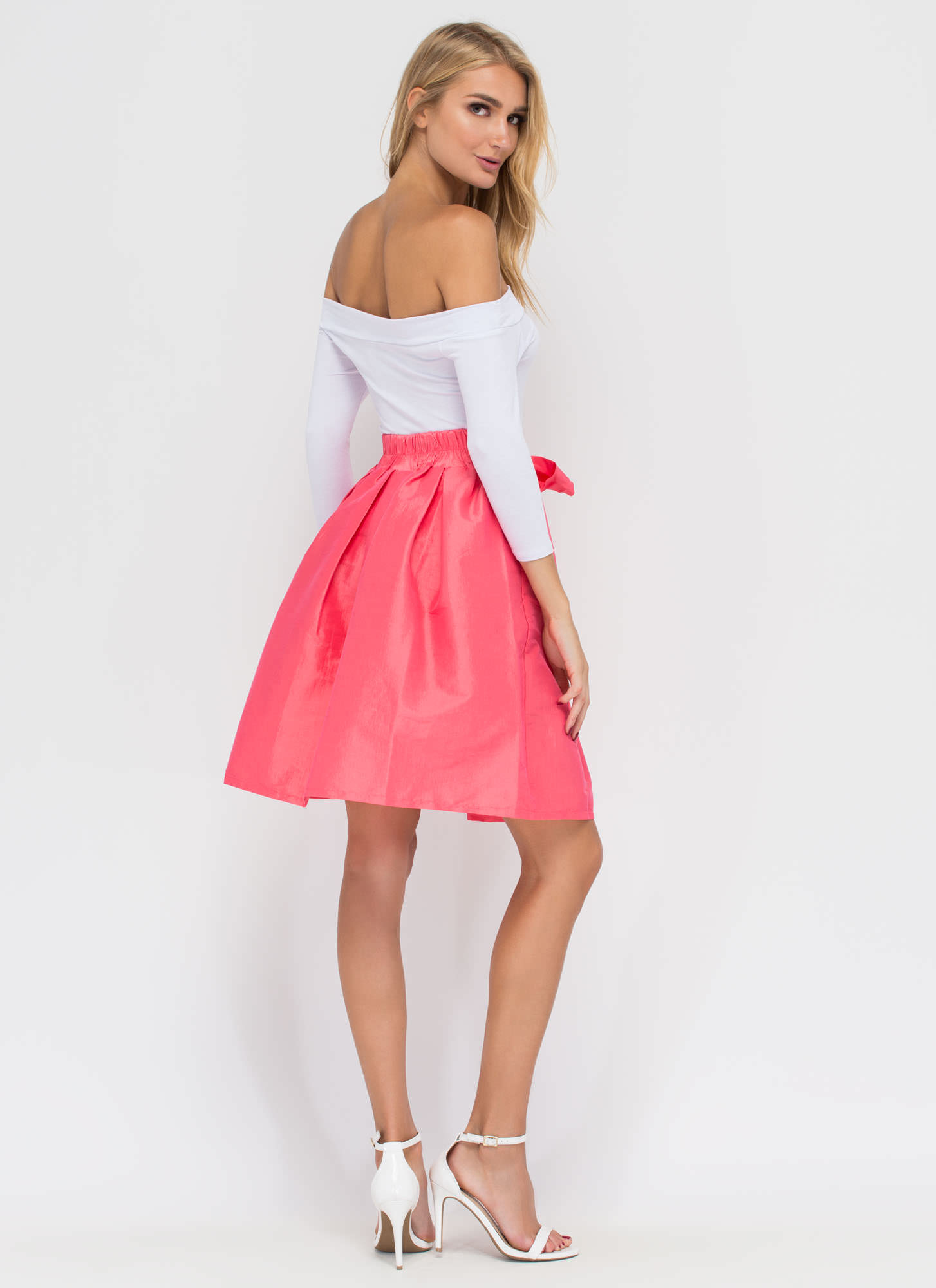 Party Pick Flared Taffeta Skirt CORAL