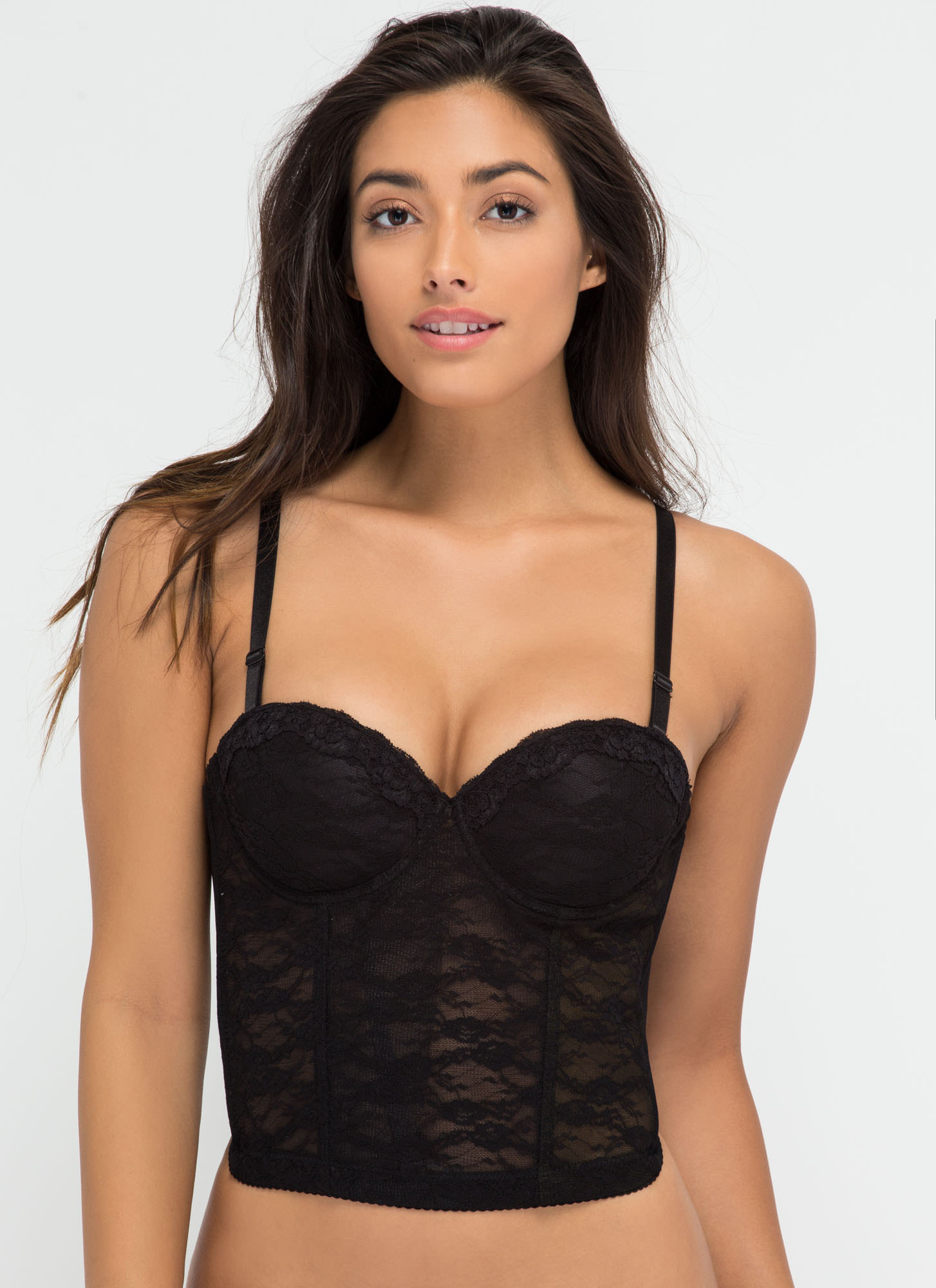 Bedroom Eyes Lace Push-Up Corset Bra BLACK (Final Sale)