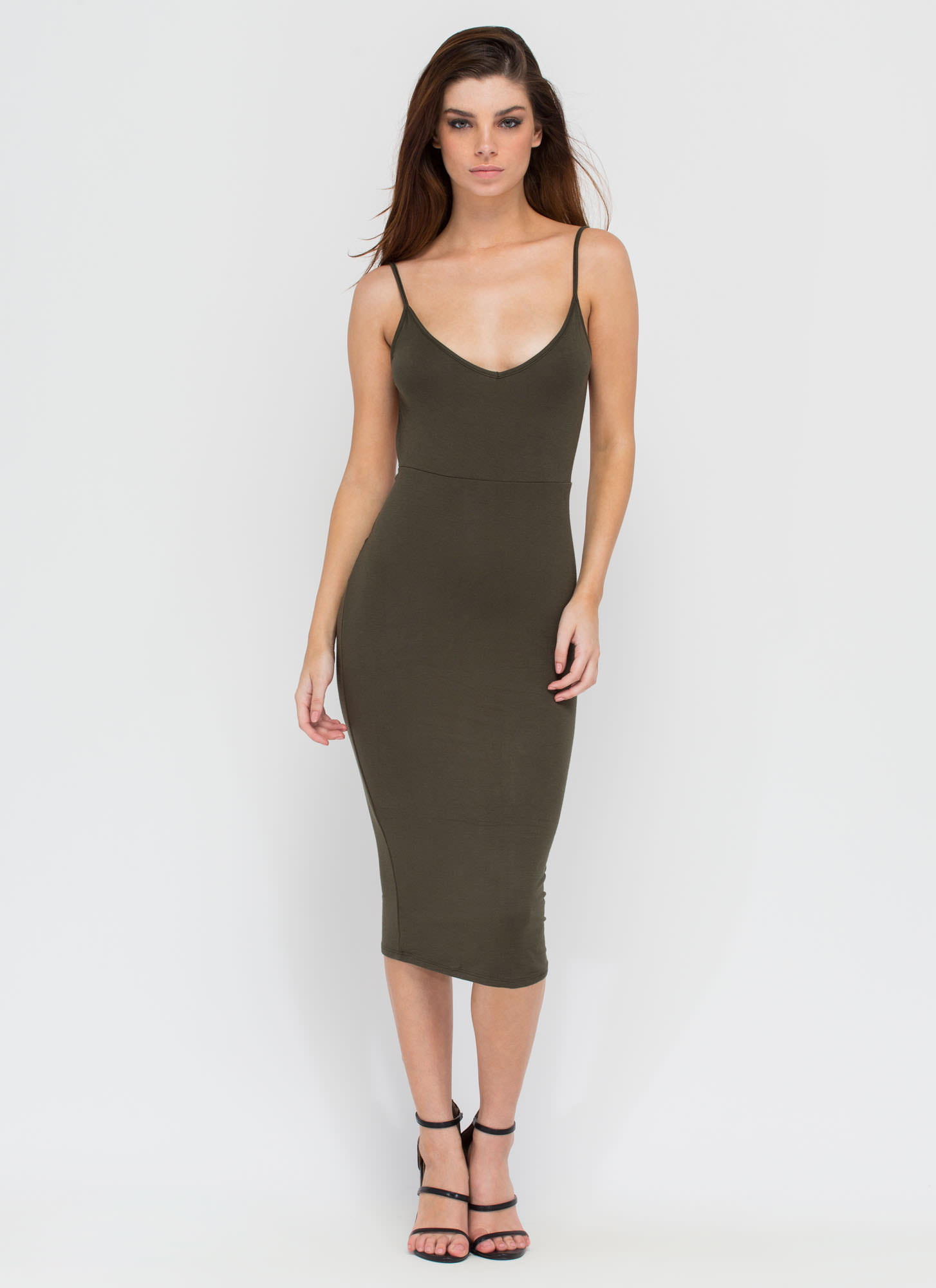 Twist Of Fate Bodycon Midi Dress OLIVE