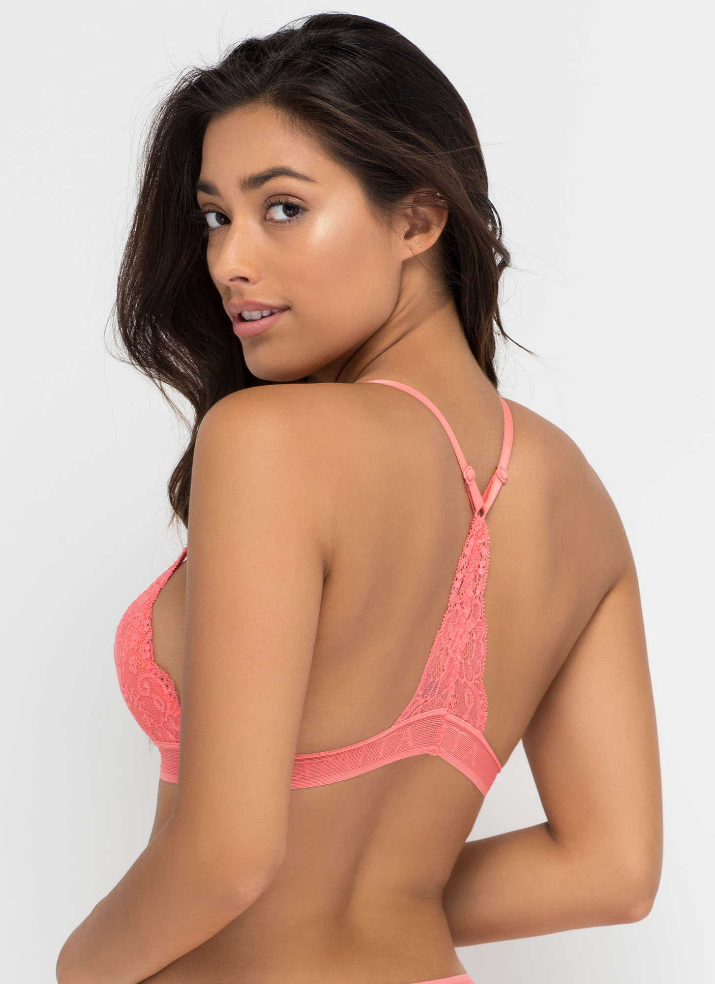 Racing Pulse Racerback Lace Bralette CORAL (Final Sale)