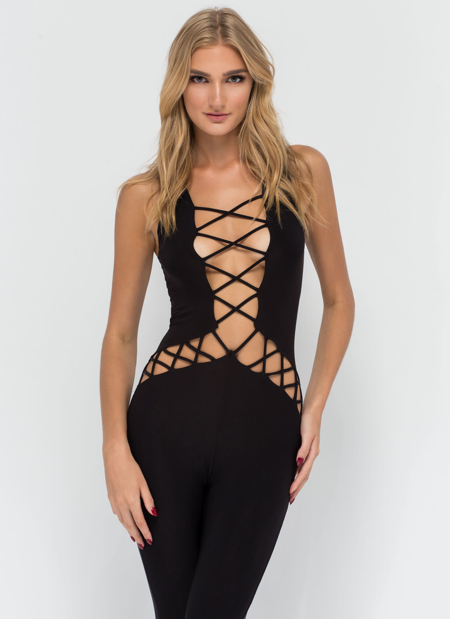 Y Not Cut-Out Lace-Up Jumpsuit BLACK