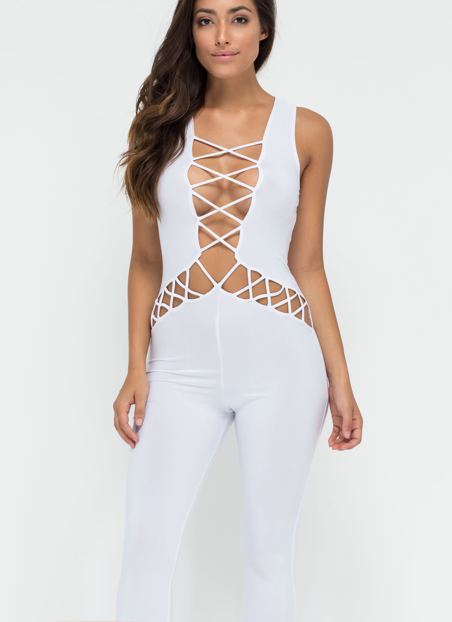 Y Not Cut-Out Lace-Up Jumpsuit WHITE