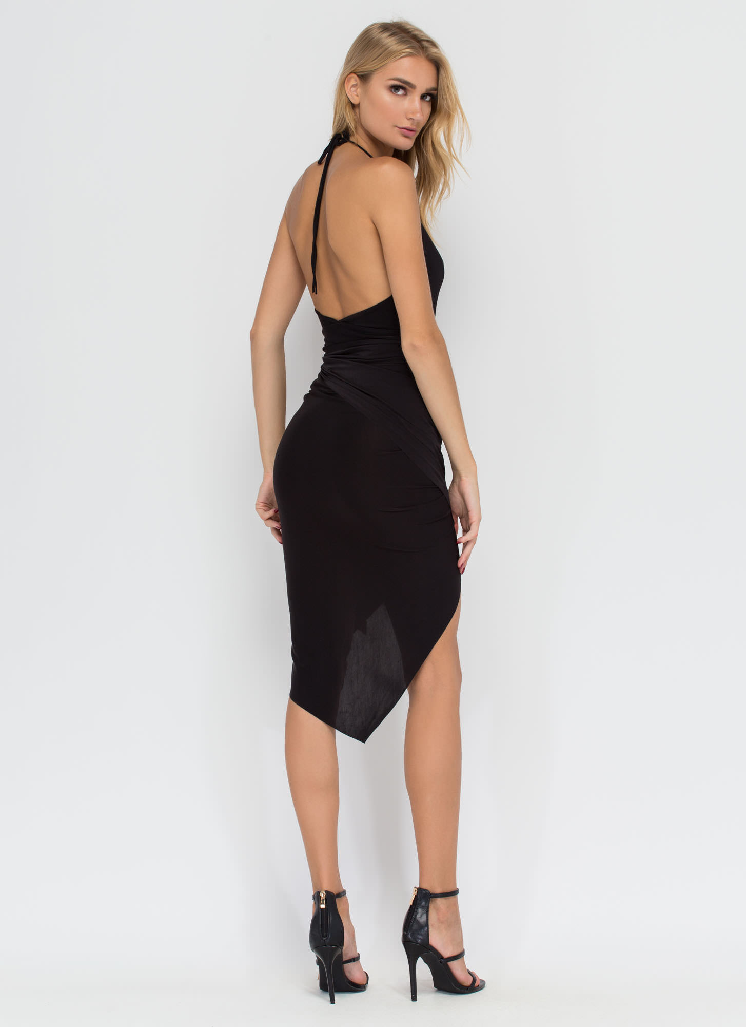Slay All Day High-Low Halter Dress BLACK (Final Sale)