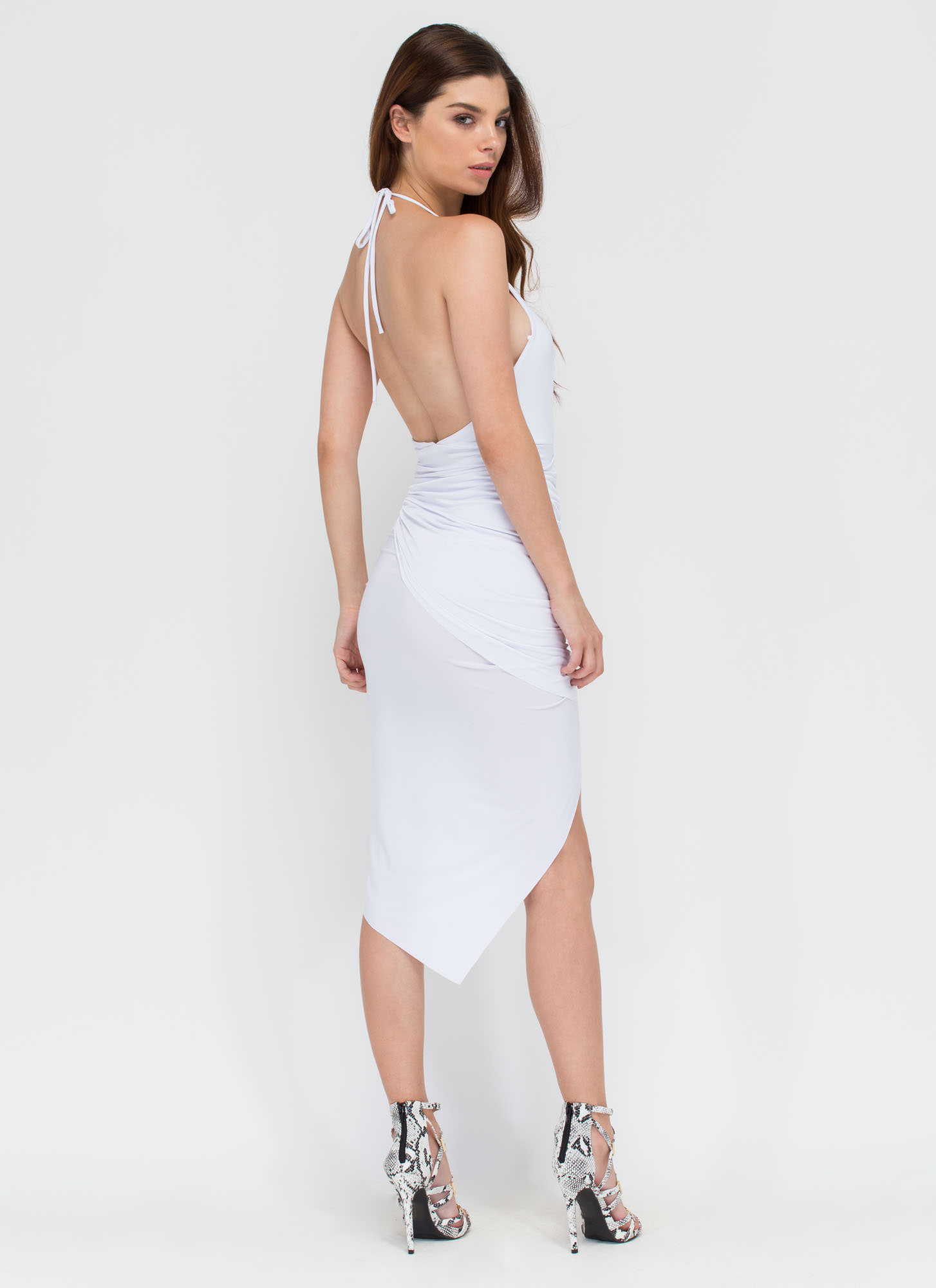 Slay All Day High-Low Halter Dress WHITE (Final Sale)