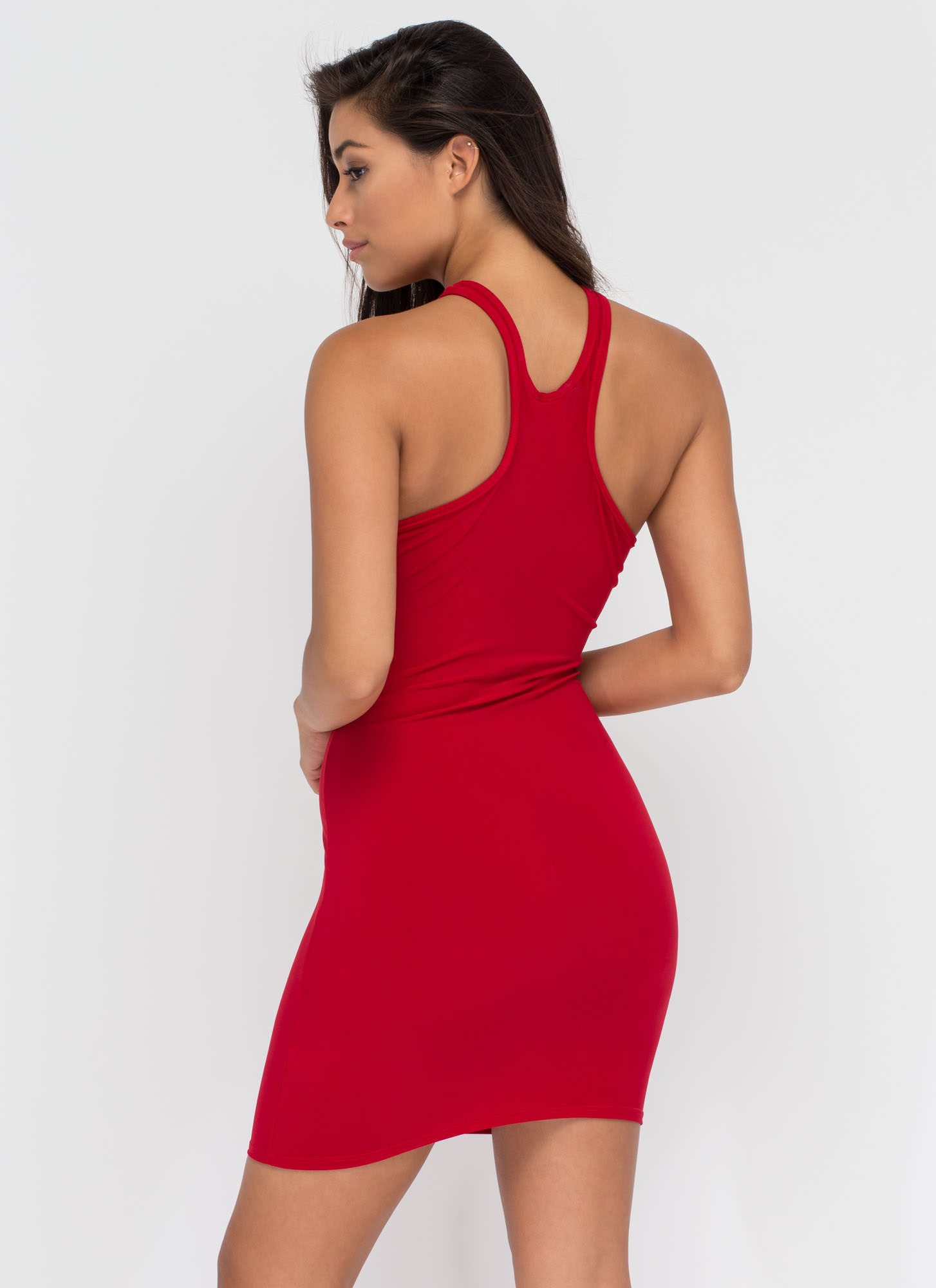 All Oval The Place Cut-Out Racer Dress RED (Final Sale)