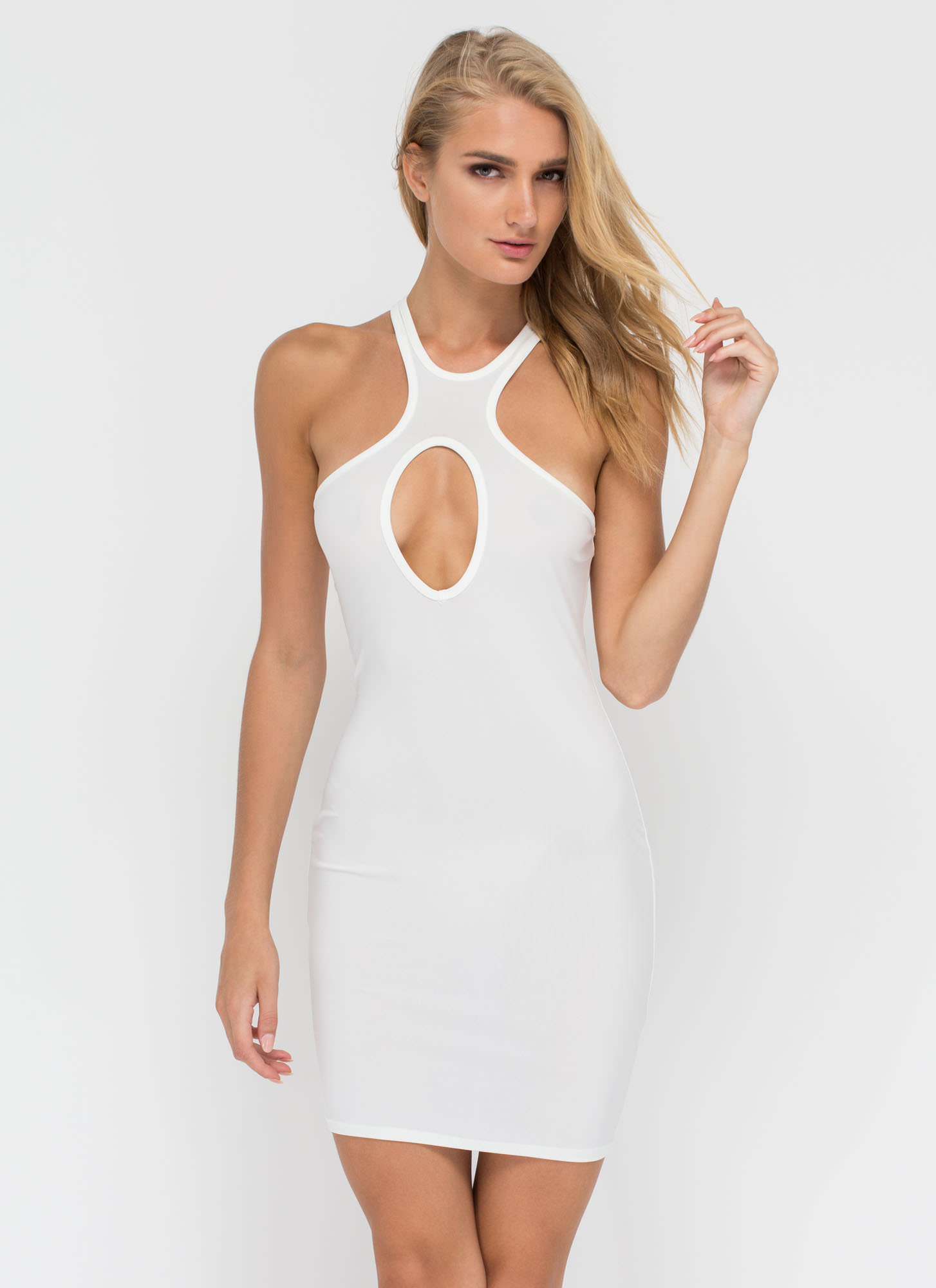 All Oval The Place Cut-Out Racer Dress WHITE (Final Sale)