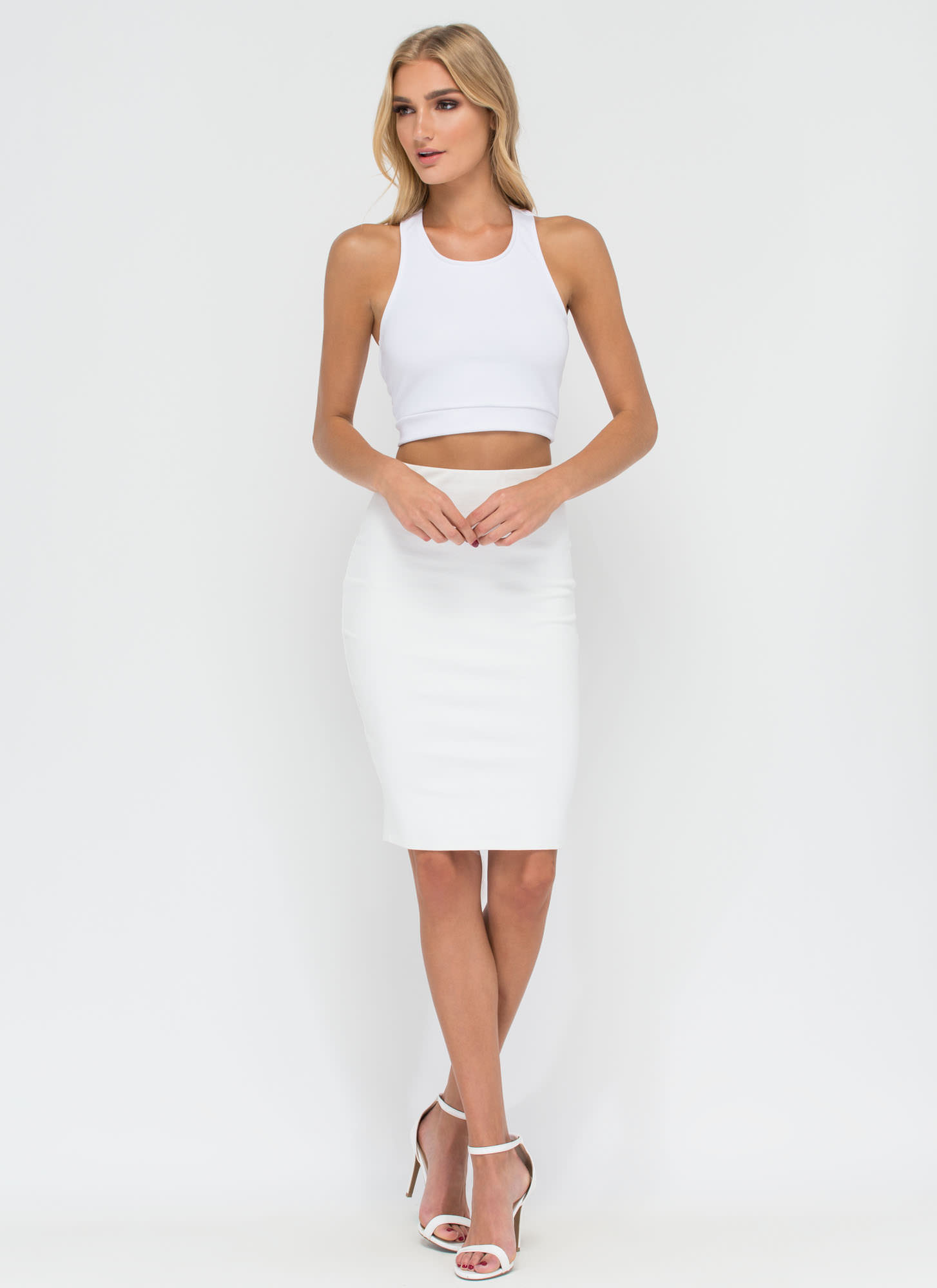 Diamond Setting Caged Back Crop Top WHITE