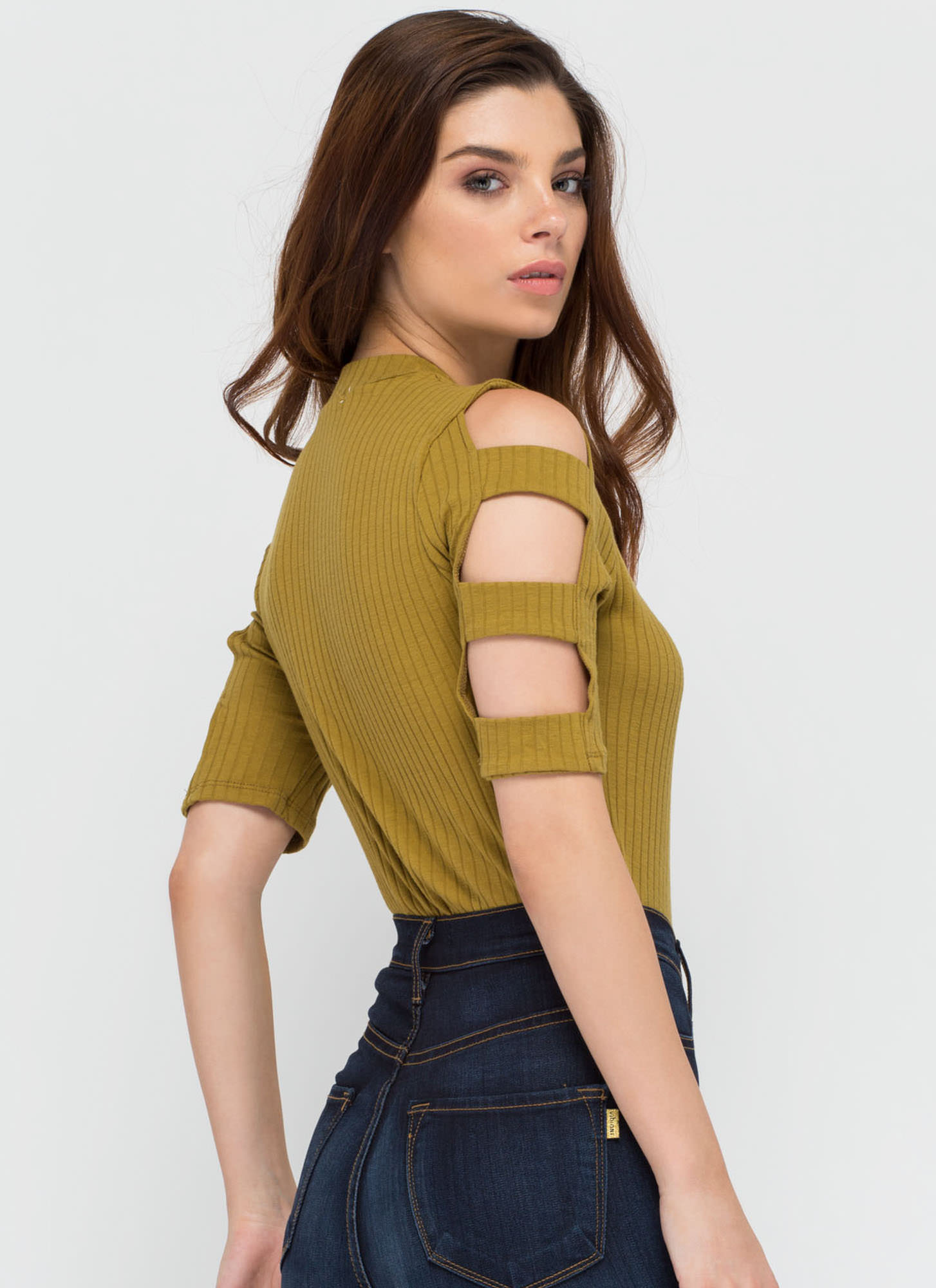 Don't Worry Be Strappy Sleeve Crop Top MUSTARD