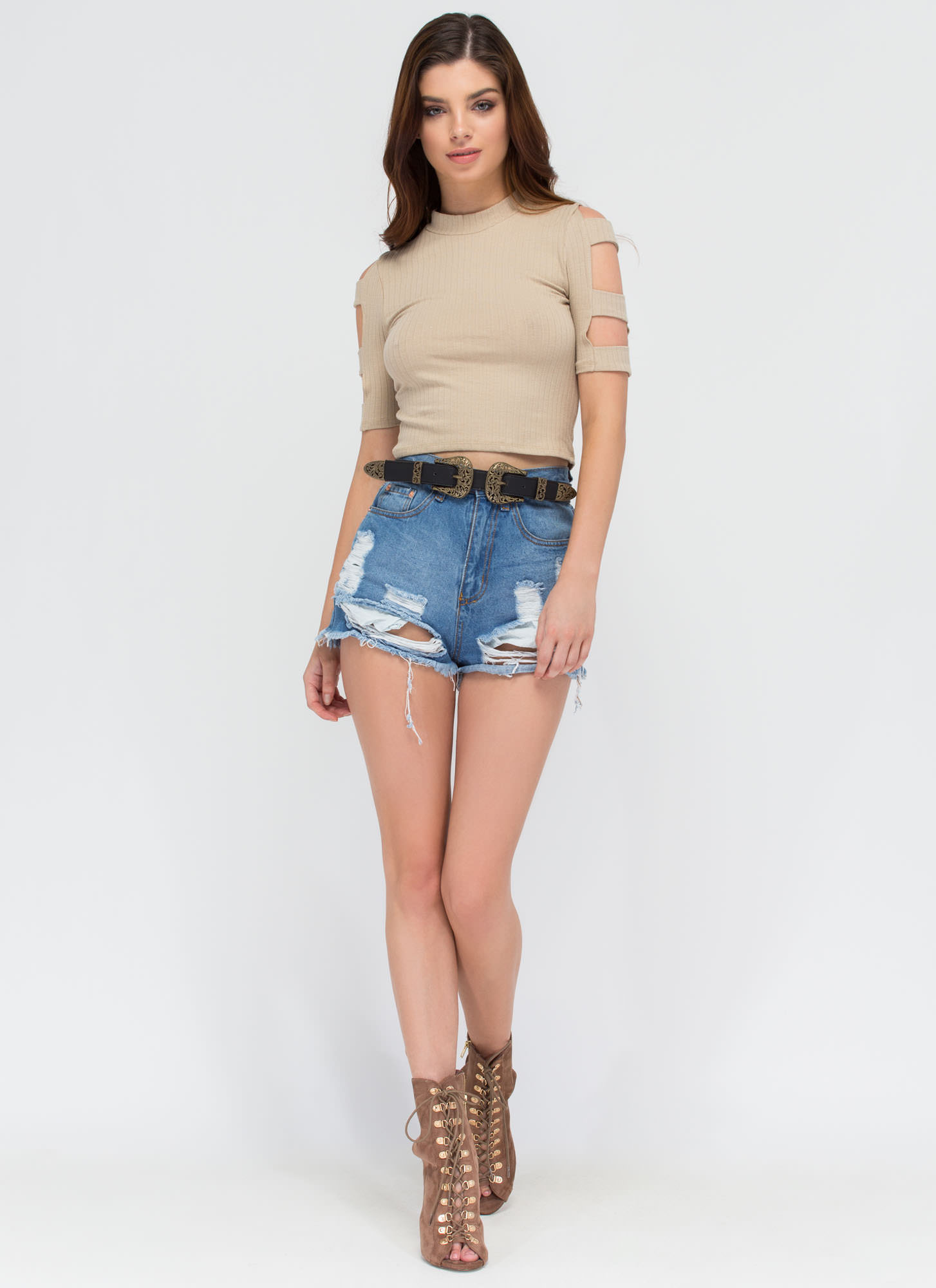 Don't Worry Be Strappy Sleeve Crop Top TAUPE