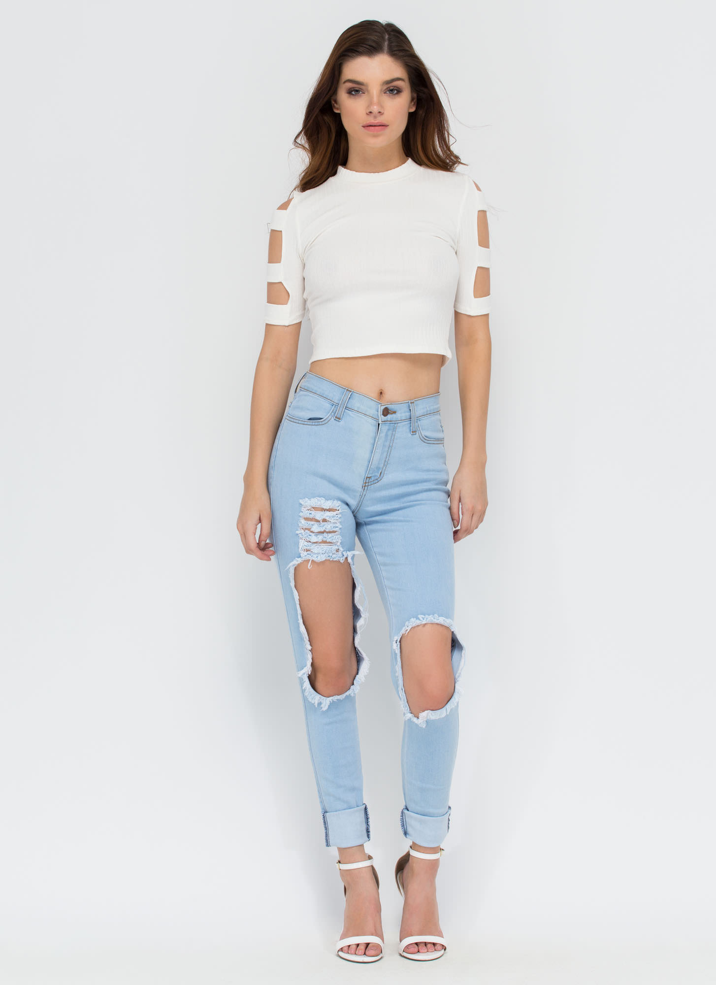 Don't Worry Be Strappy Sleeve Crop Top WHITE