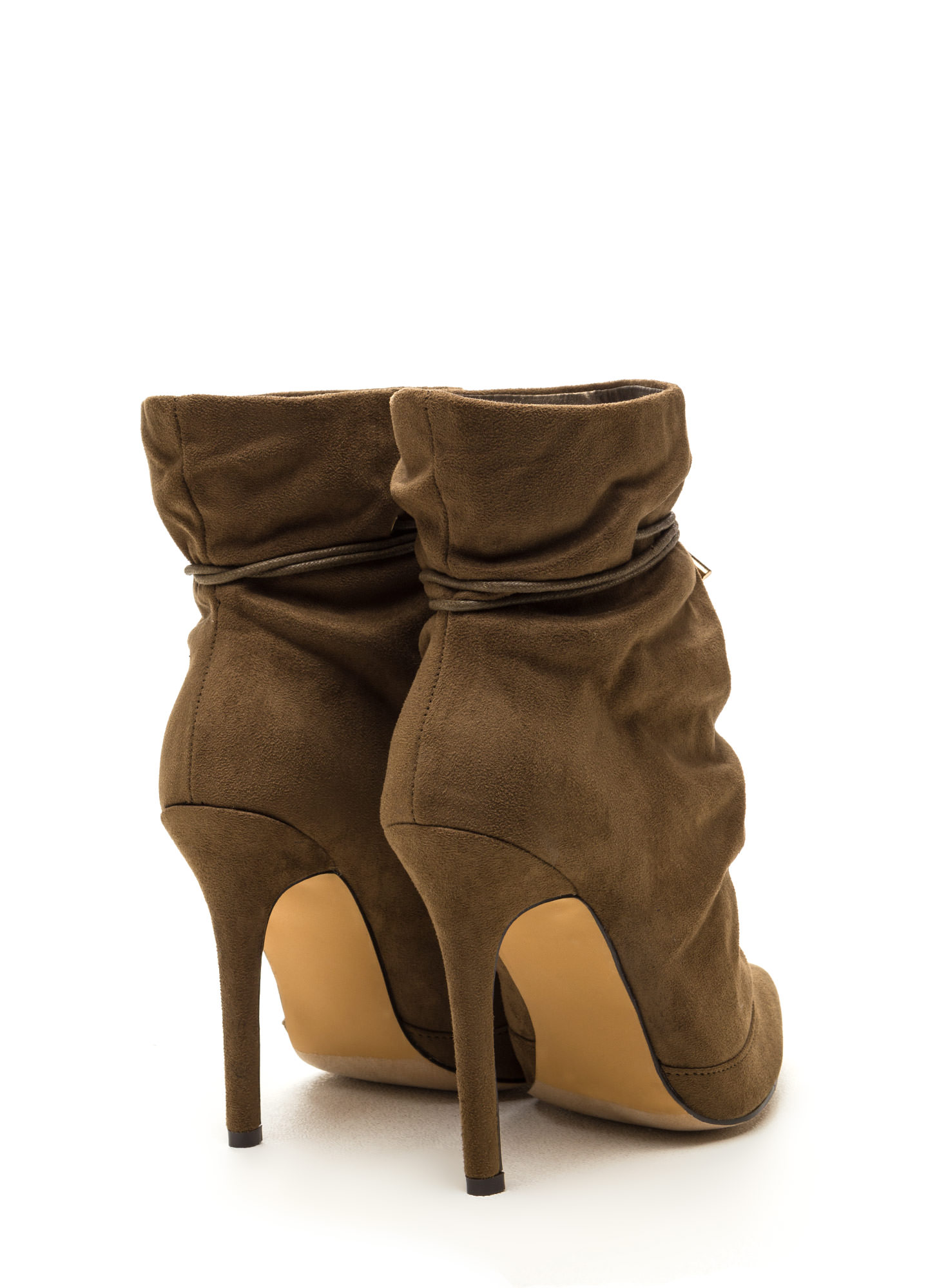 Chic In The City Slouchy Booties OLIVE