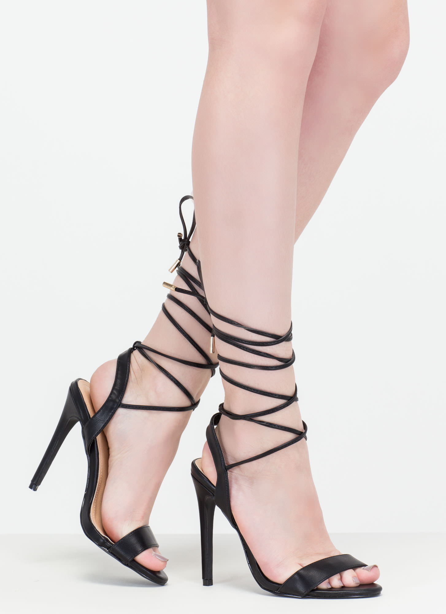 At Long Last Lace-Up Faux Leather Heels BLACK