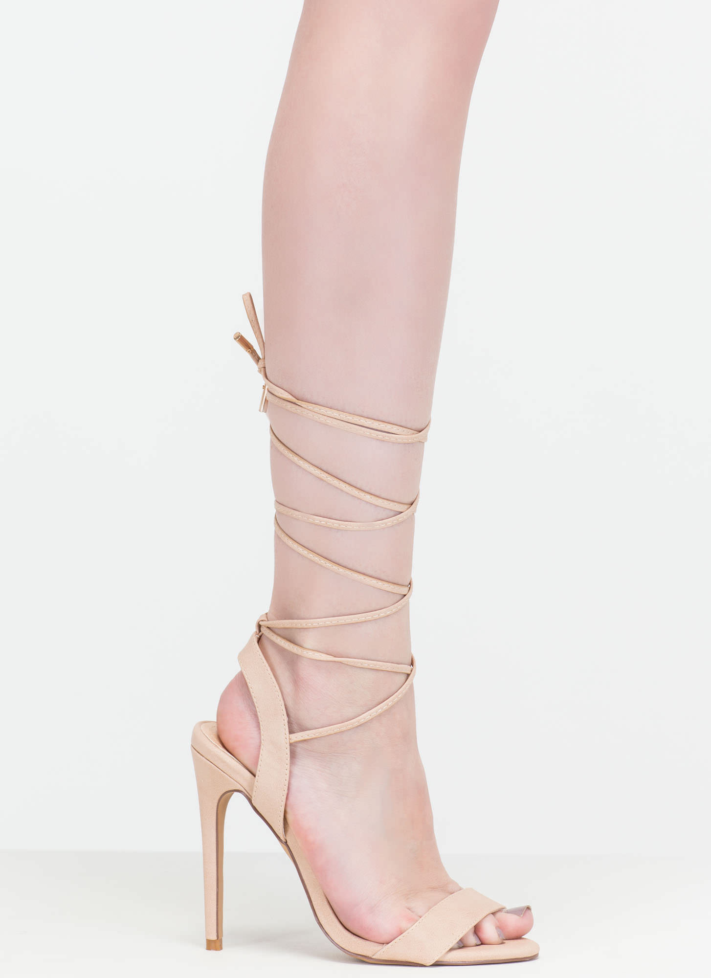 At Long Last Lace-Up Faux Leather Heels NUDE