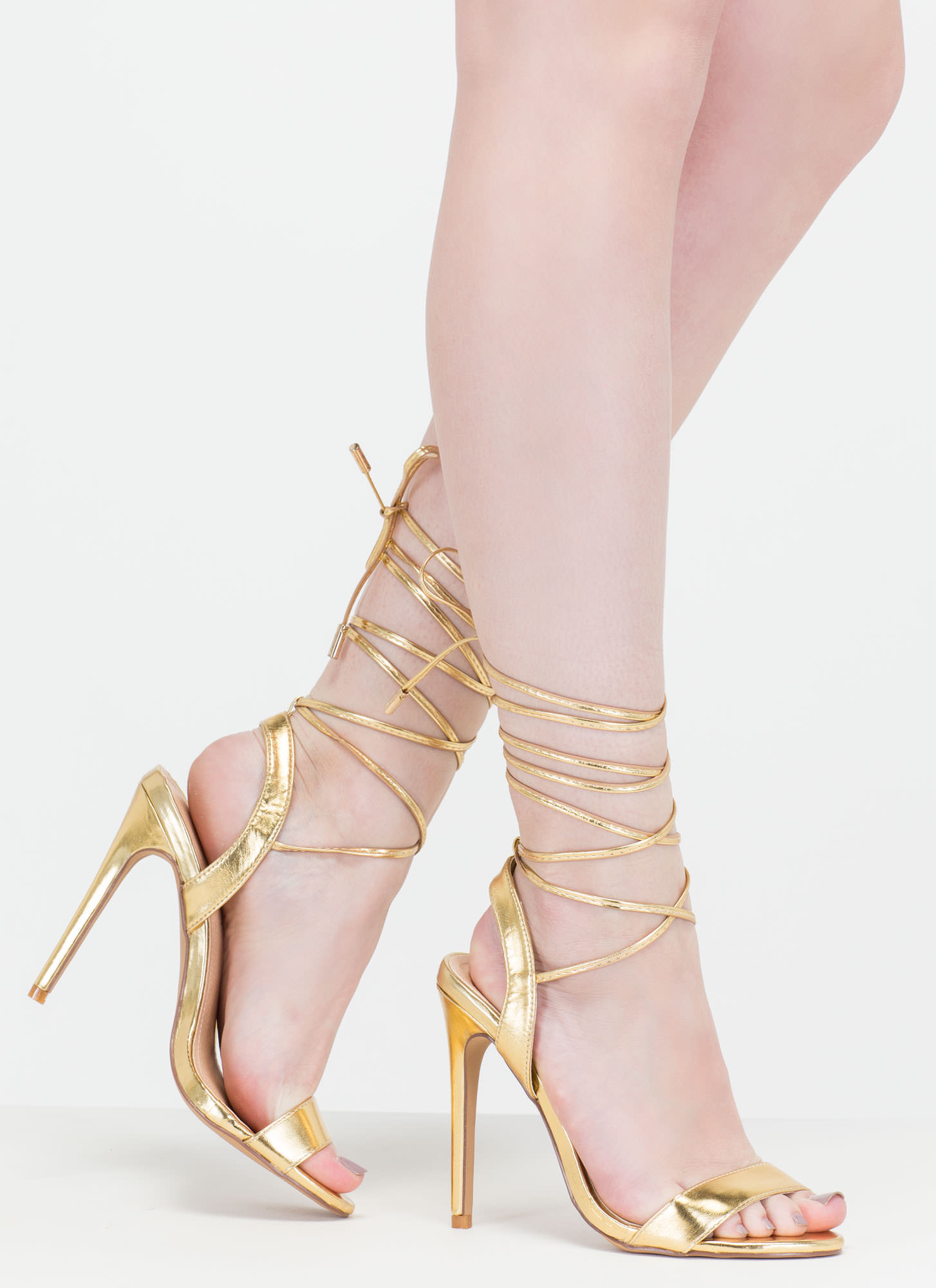 Gold Lace Up Heels - Is Heel