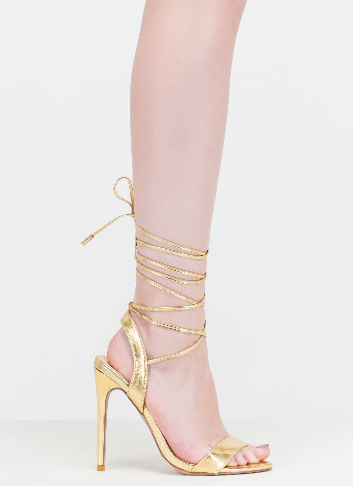 At Long Last Lace-Up Metallic Heels GOLD