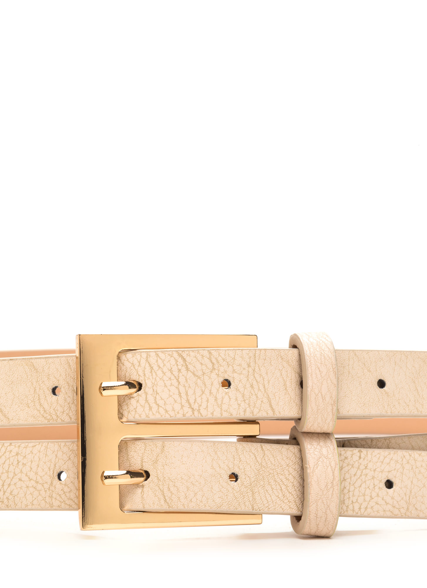 No Prong Way Faux Leather Double Belt BEIGE