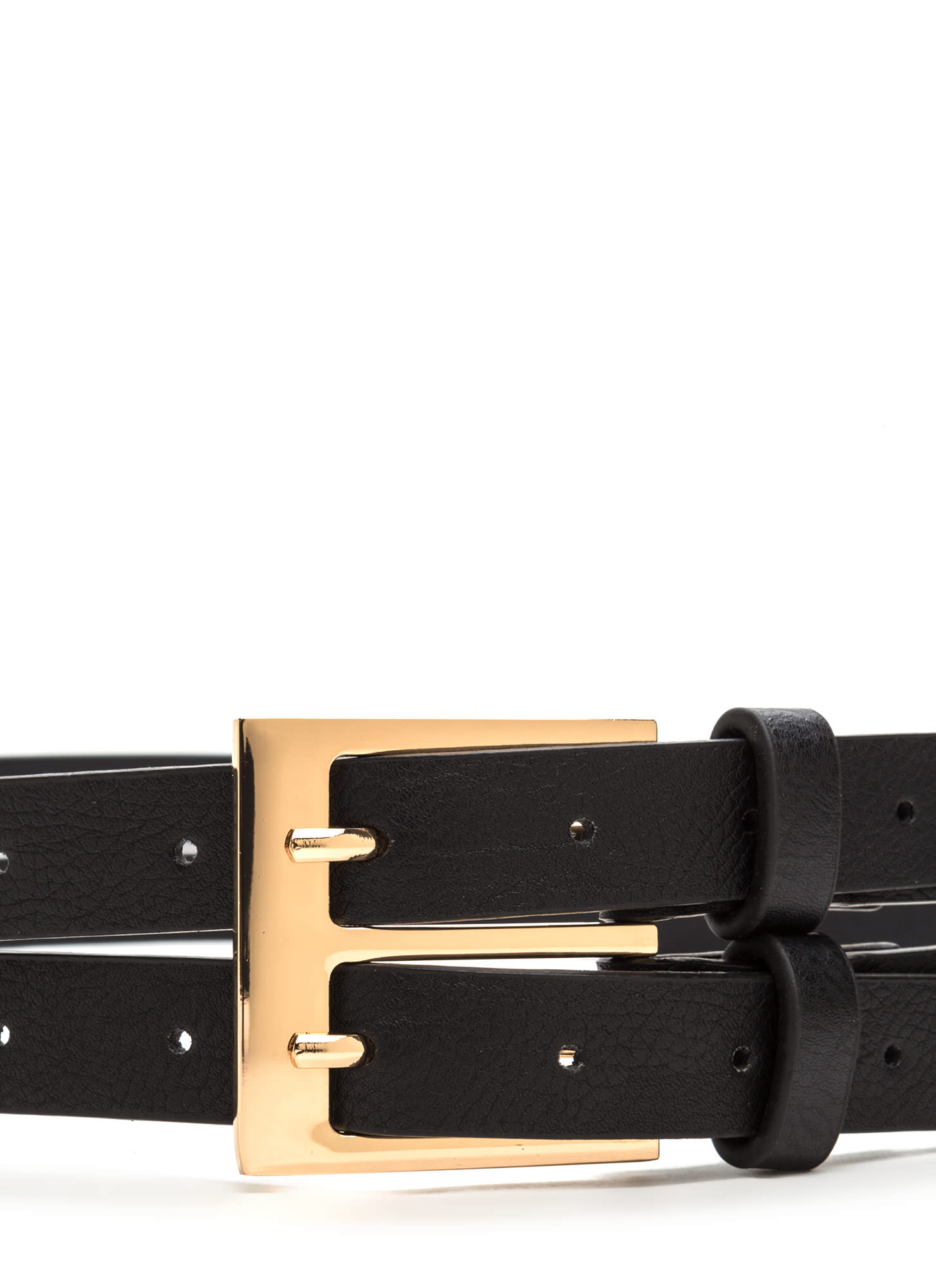 No Prong Way Faux Leather Double Belt BLACK