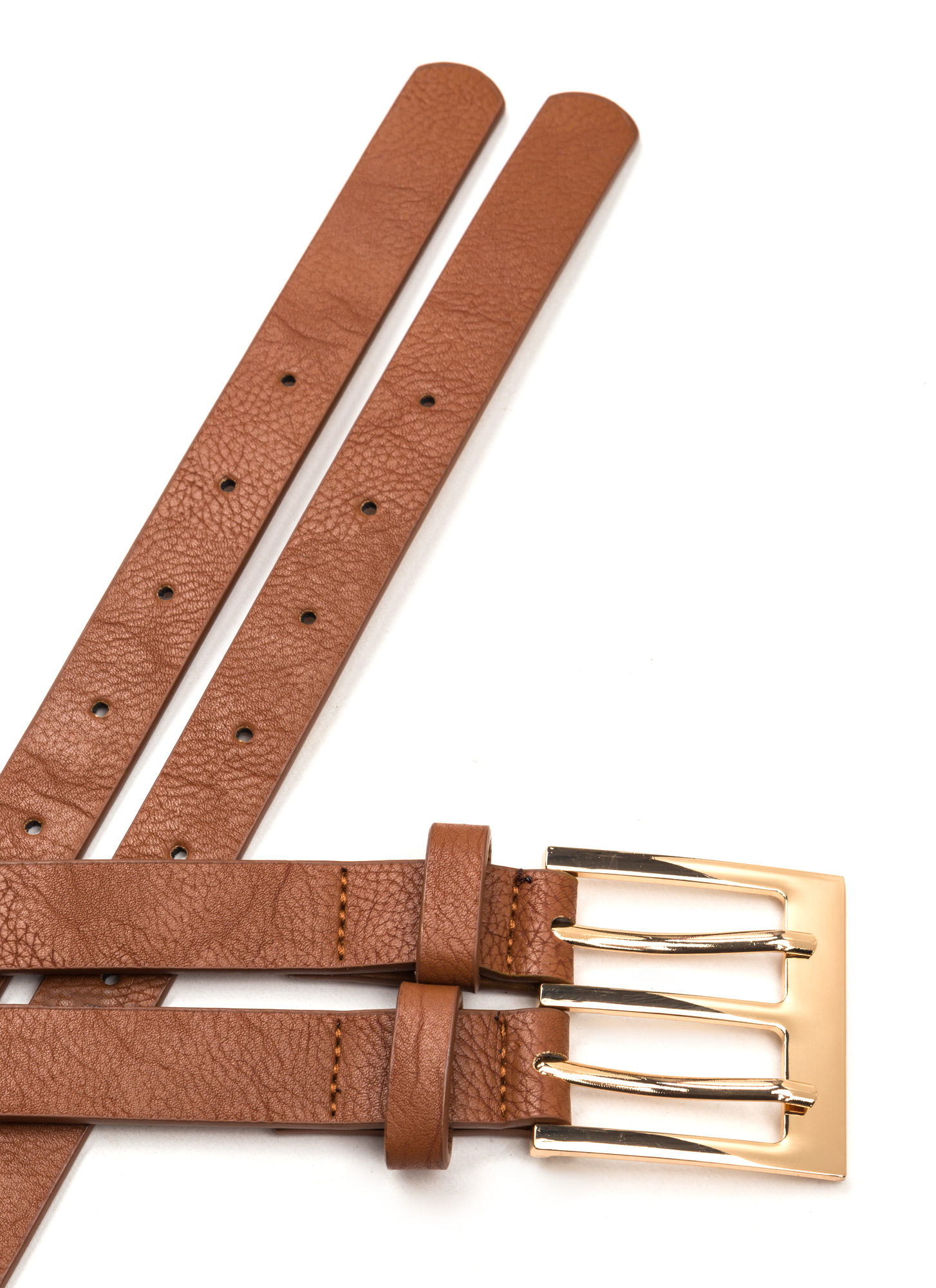 No Prong Way Faux Leather Double Belt TAN