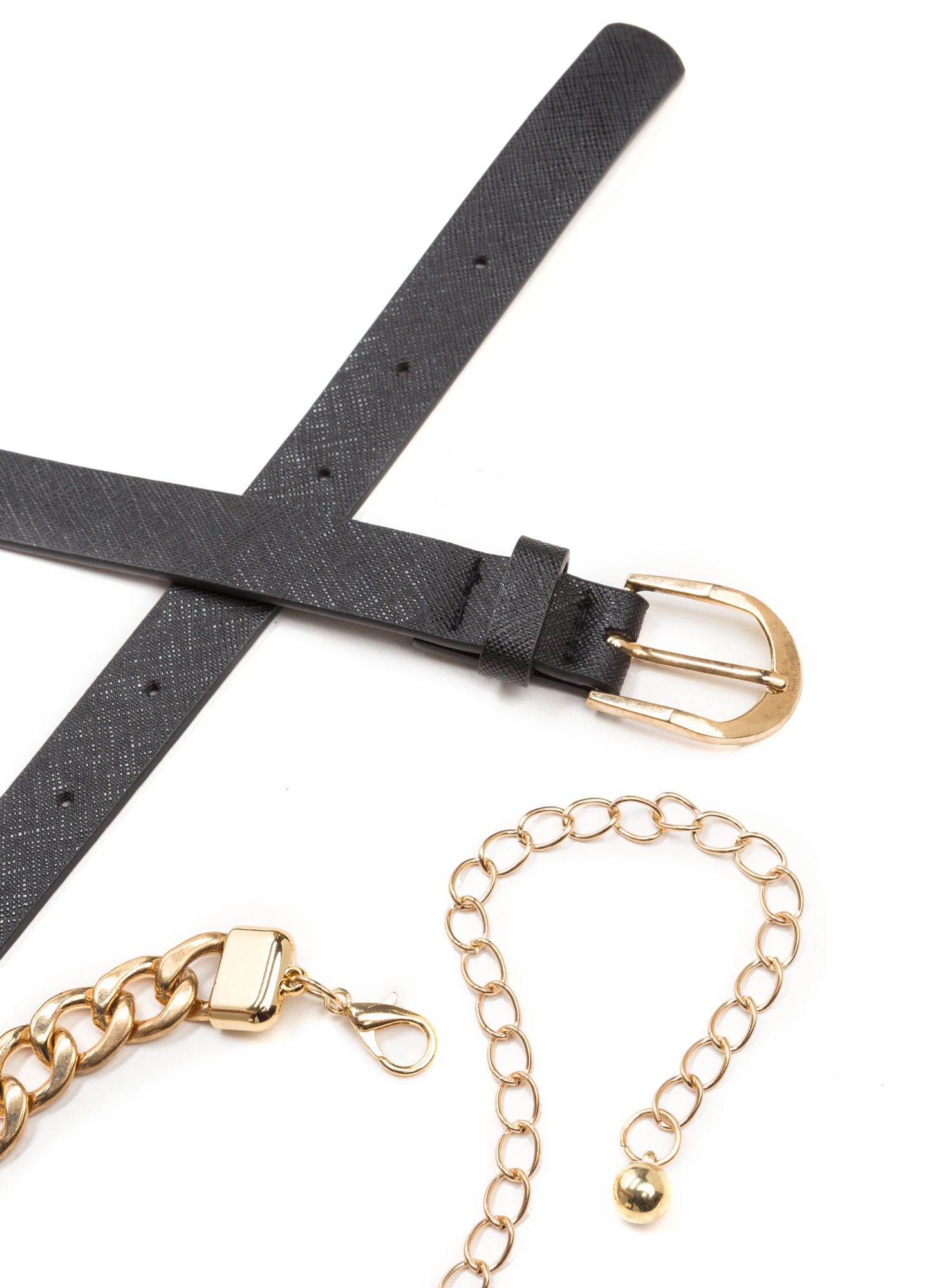 Belted Out Faux Leather 'N Chain Set BLACKGOLD