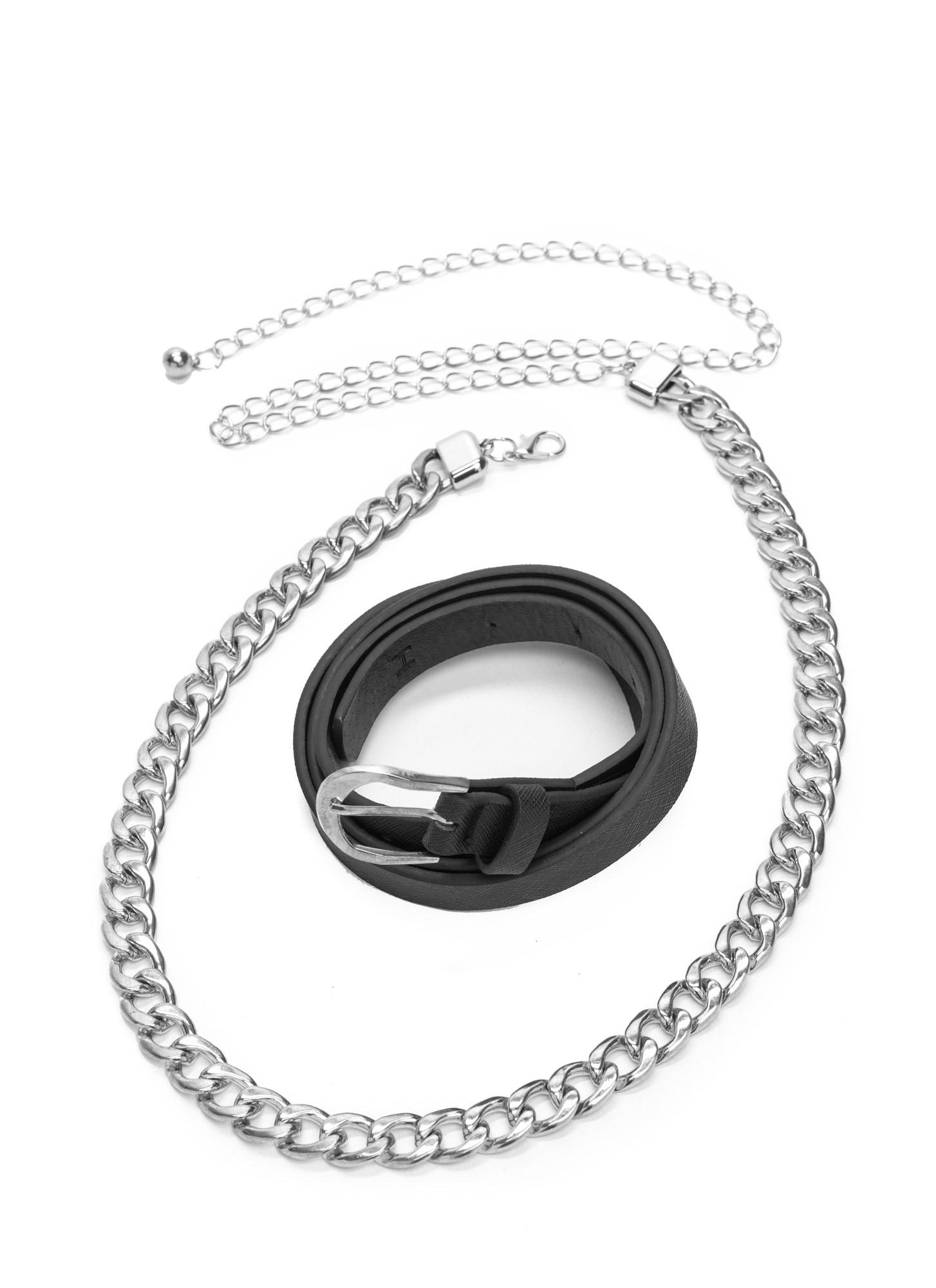 Belted Out Faux Leather 'N Chain Set BLACKSILVER