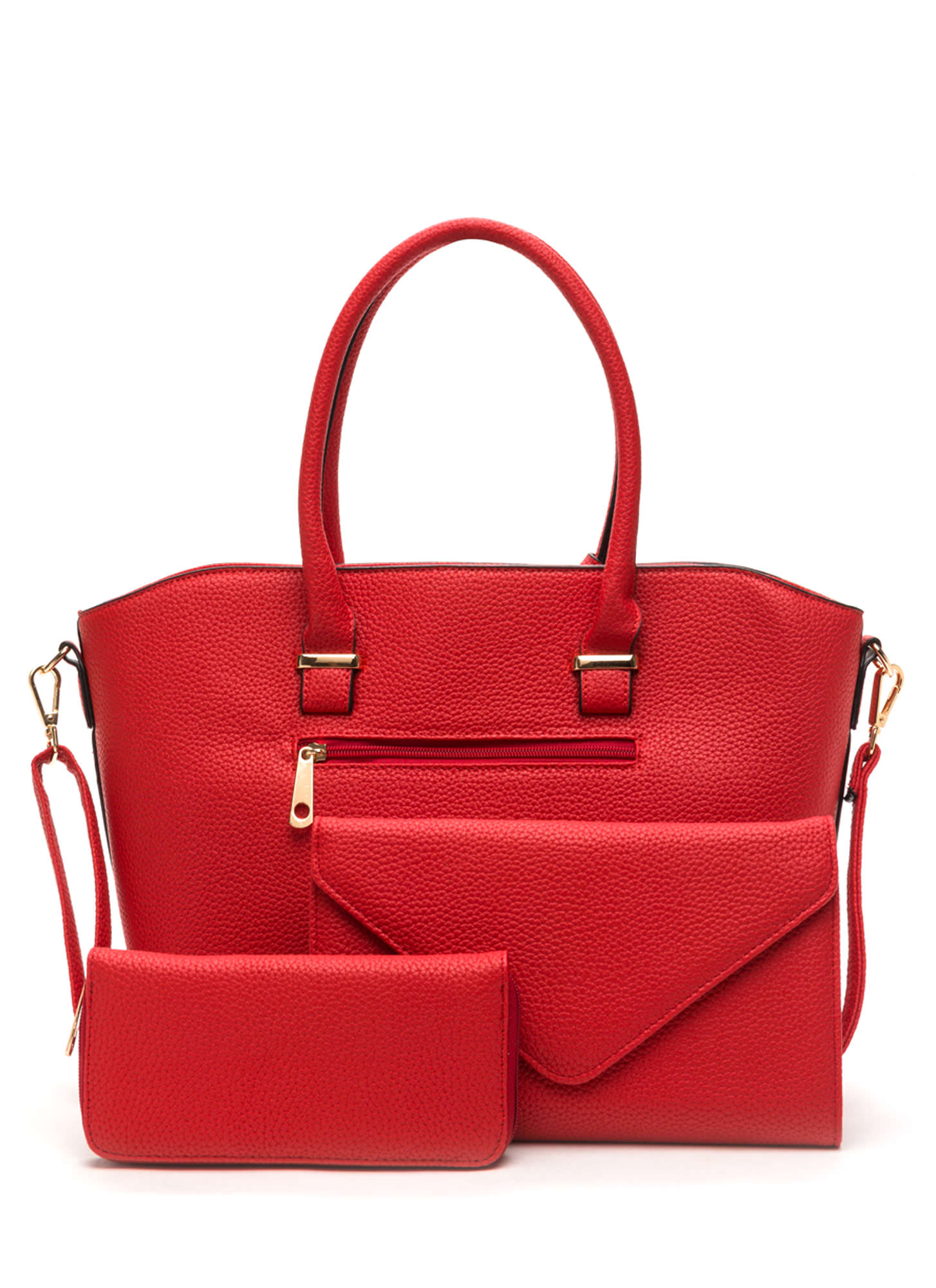 First Lady Faux Leather Bag Set RED
