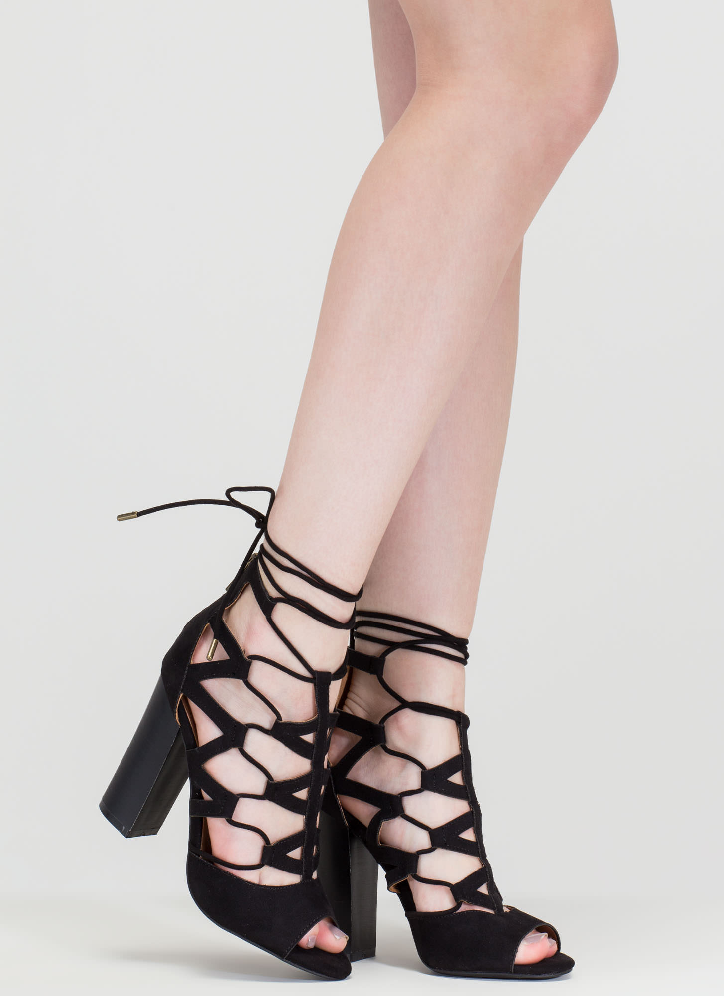 Lucky Lace-Up Faux Suede Chunky Heels BLACK