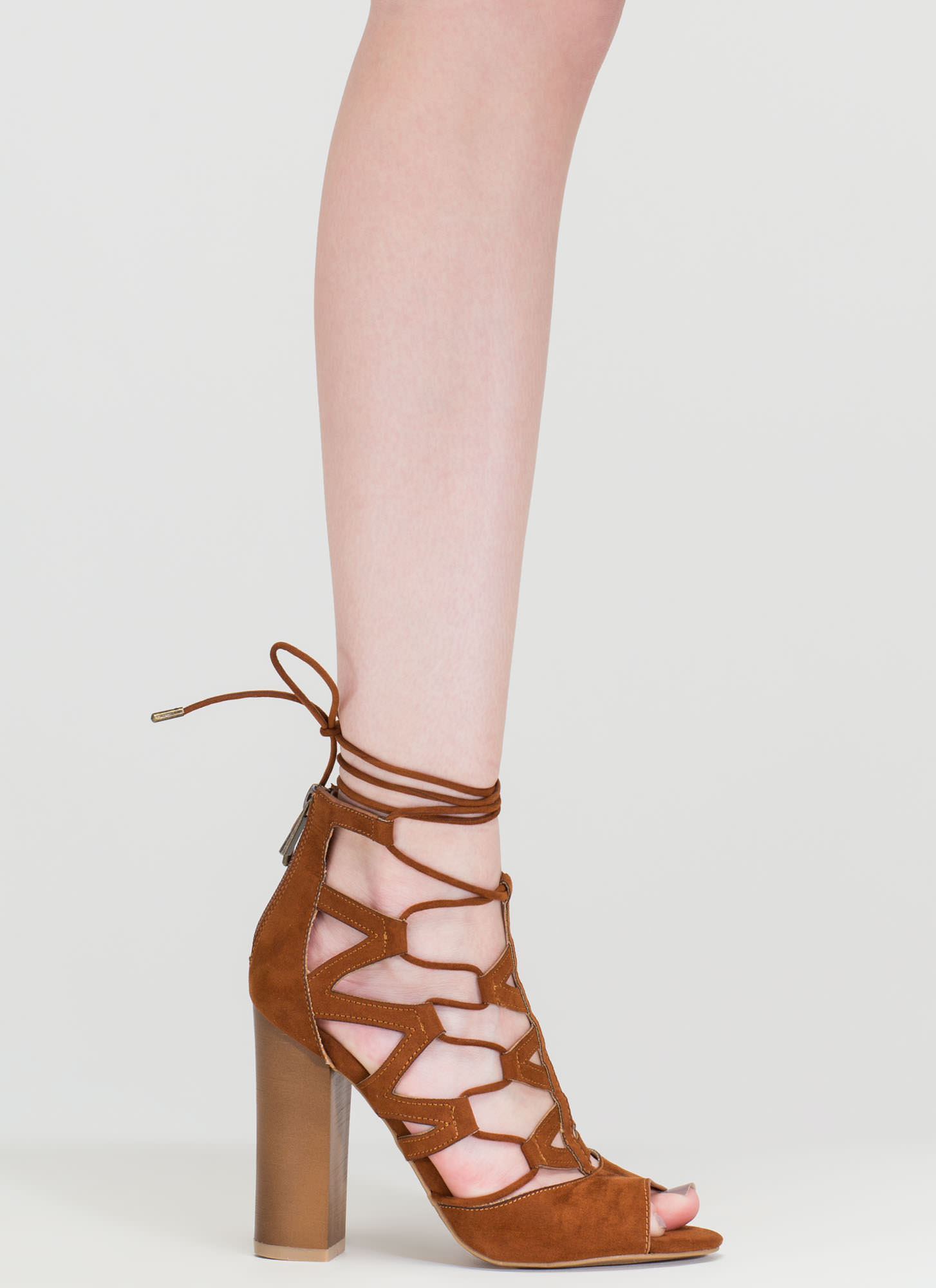 Lucky Lace-Up Faux Suede Chunky Heels CHESTNUT