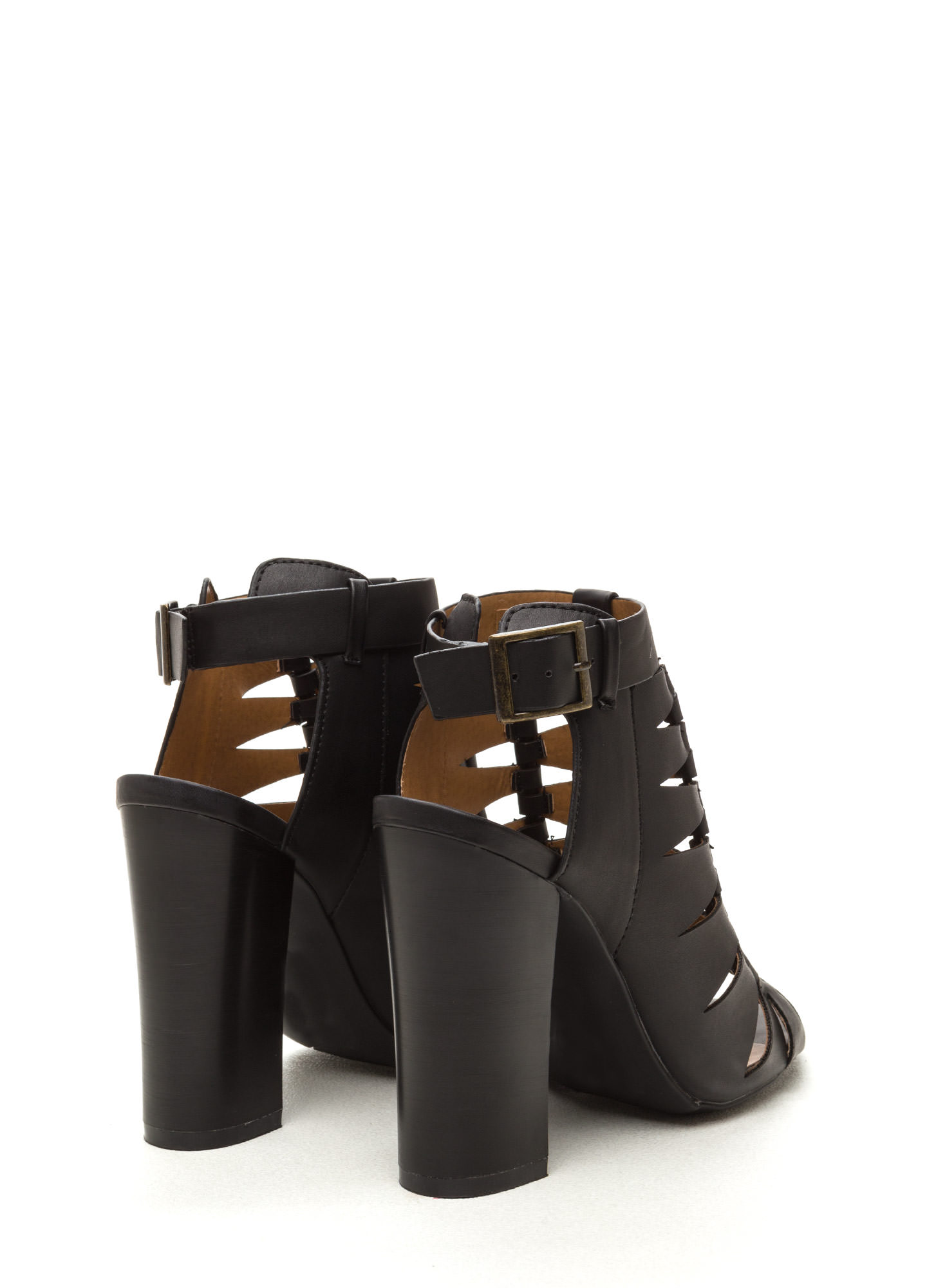 Lined Up Faux Leather Chunky Heels BLACK