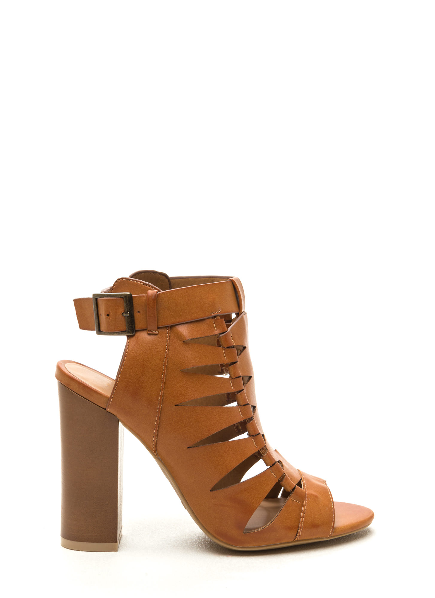 Lined Up Faux Leather Chunky Heels TAN
